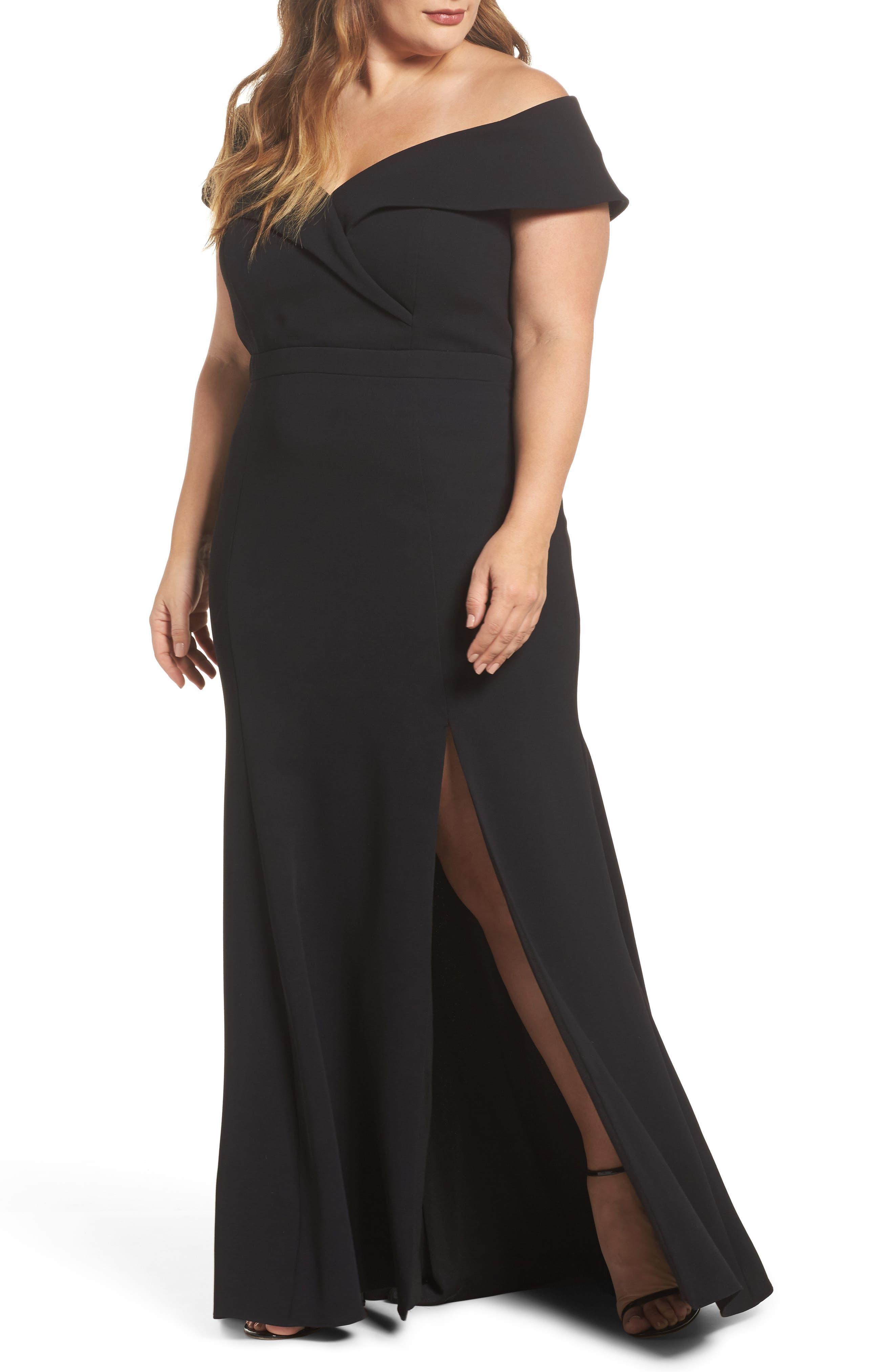 Off the Shoulder Front Slit Crepe Dress,                         Main,                         color, 001