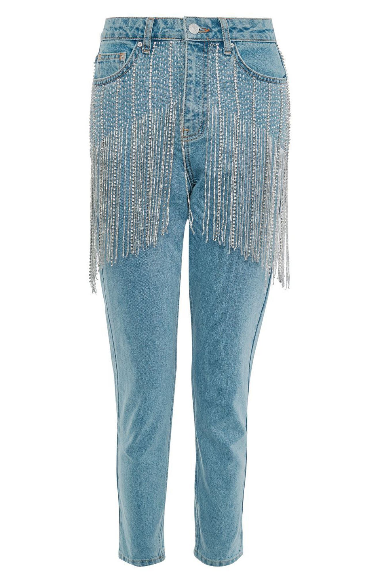 Diamante Crystal Fringe Mom Jeans,                             Alternate thumbnail 5, color,