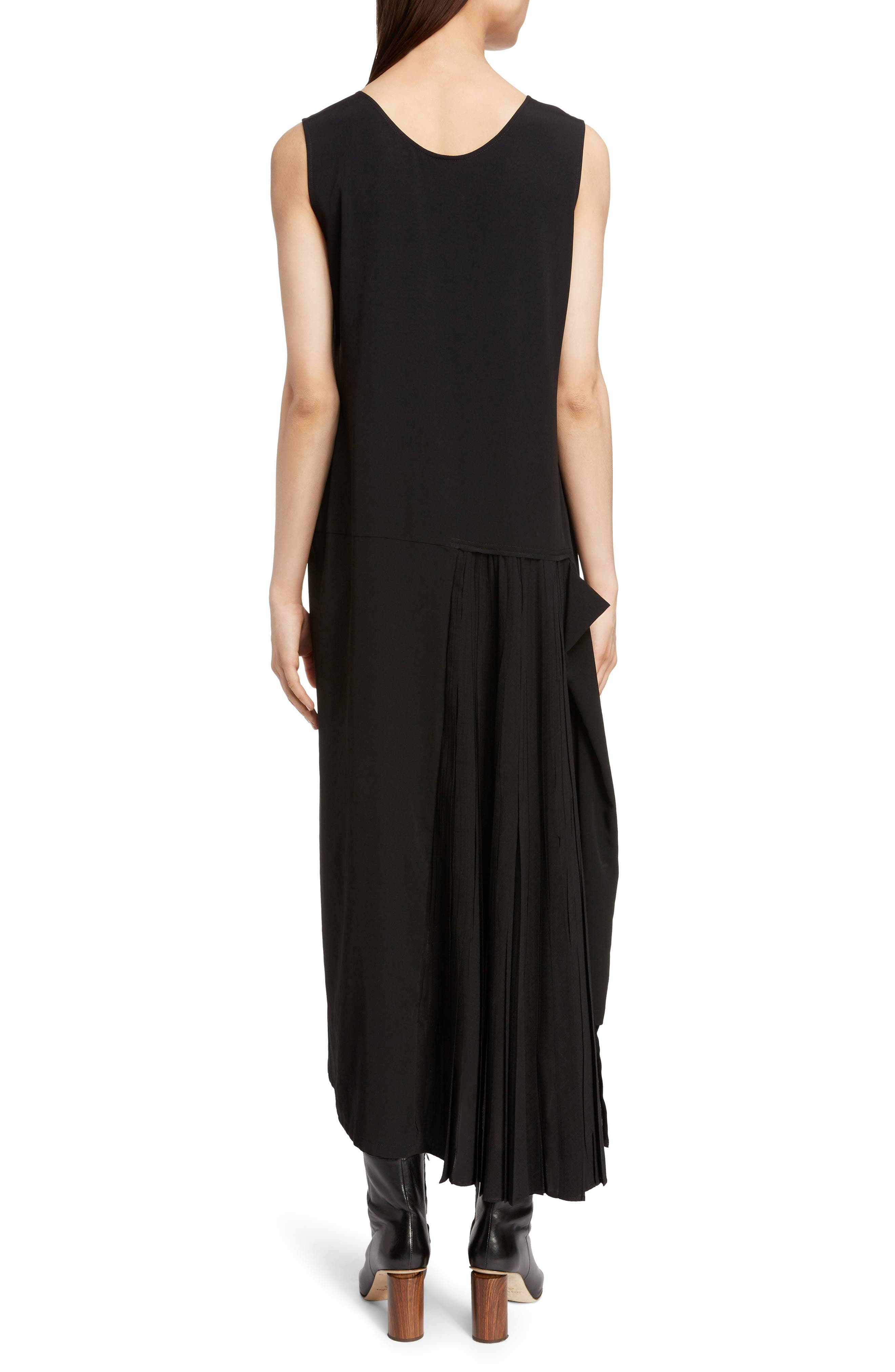 Pleat Detail Sleeveless Dress,                             Alternate thumbnail 2, color,                             BLACK
