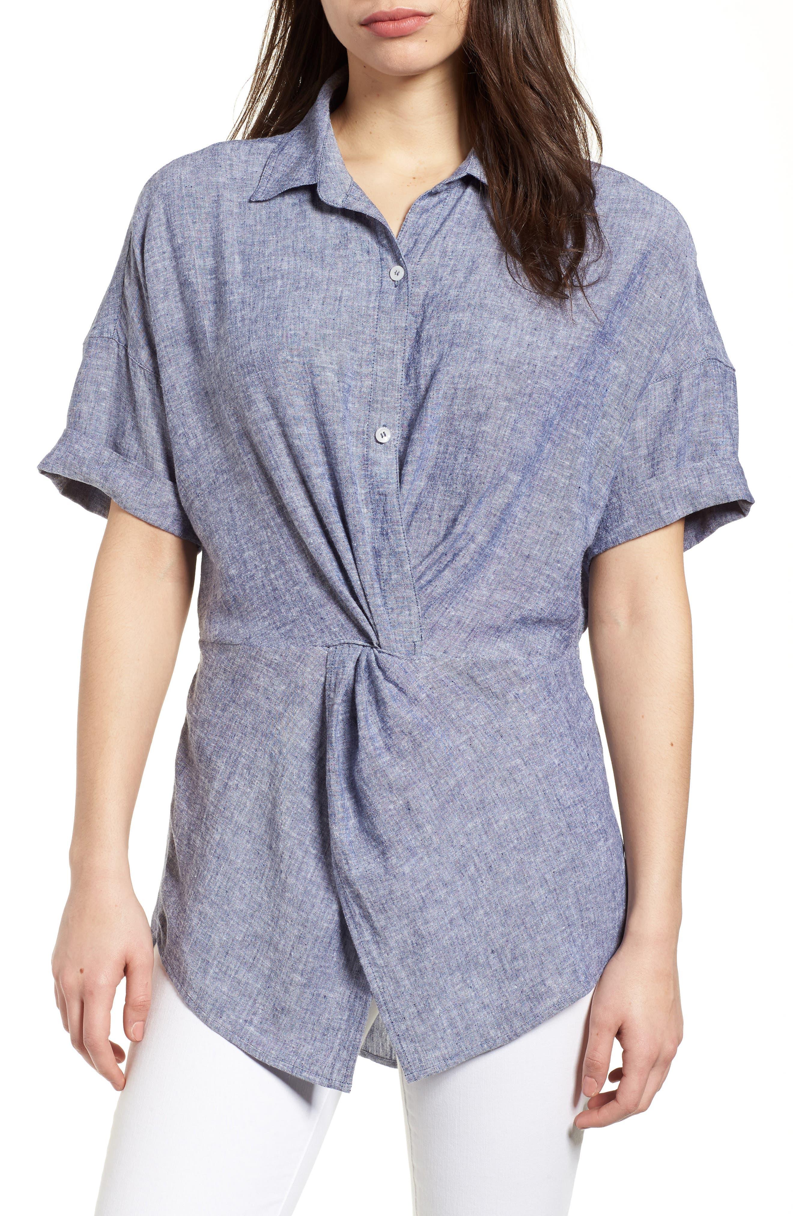 Twist Front Linen Blend Shirt,                             Main thumbnail 2, color,