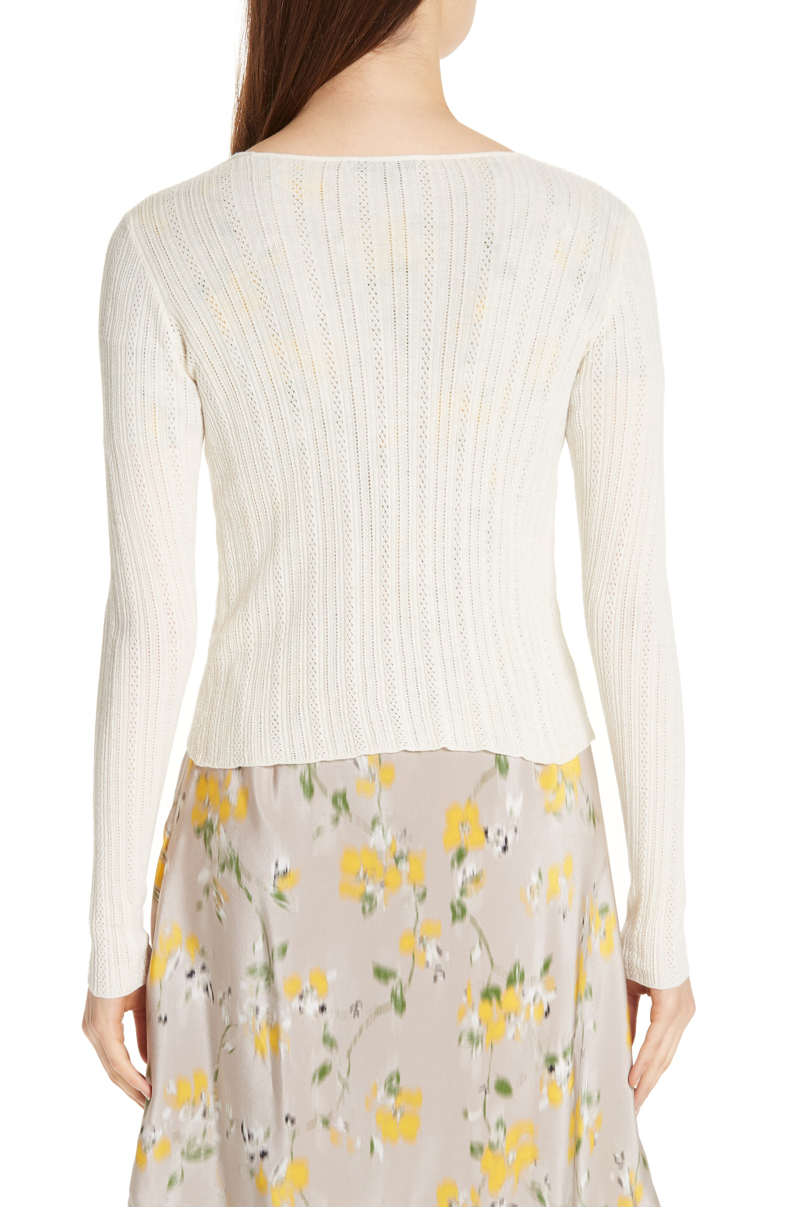 Crop Wool & Cashmere Button Cardigan,                             Alternate thumbnail 2, color,                             IVORY