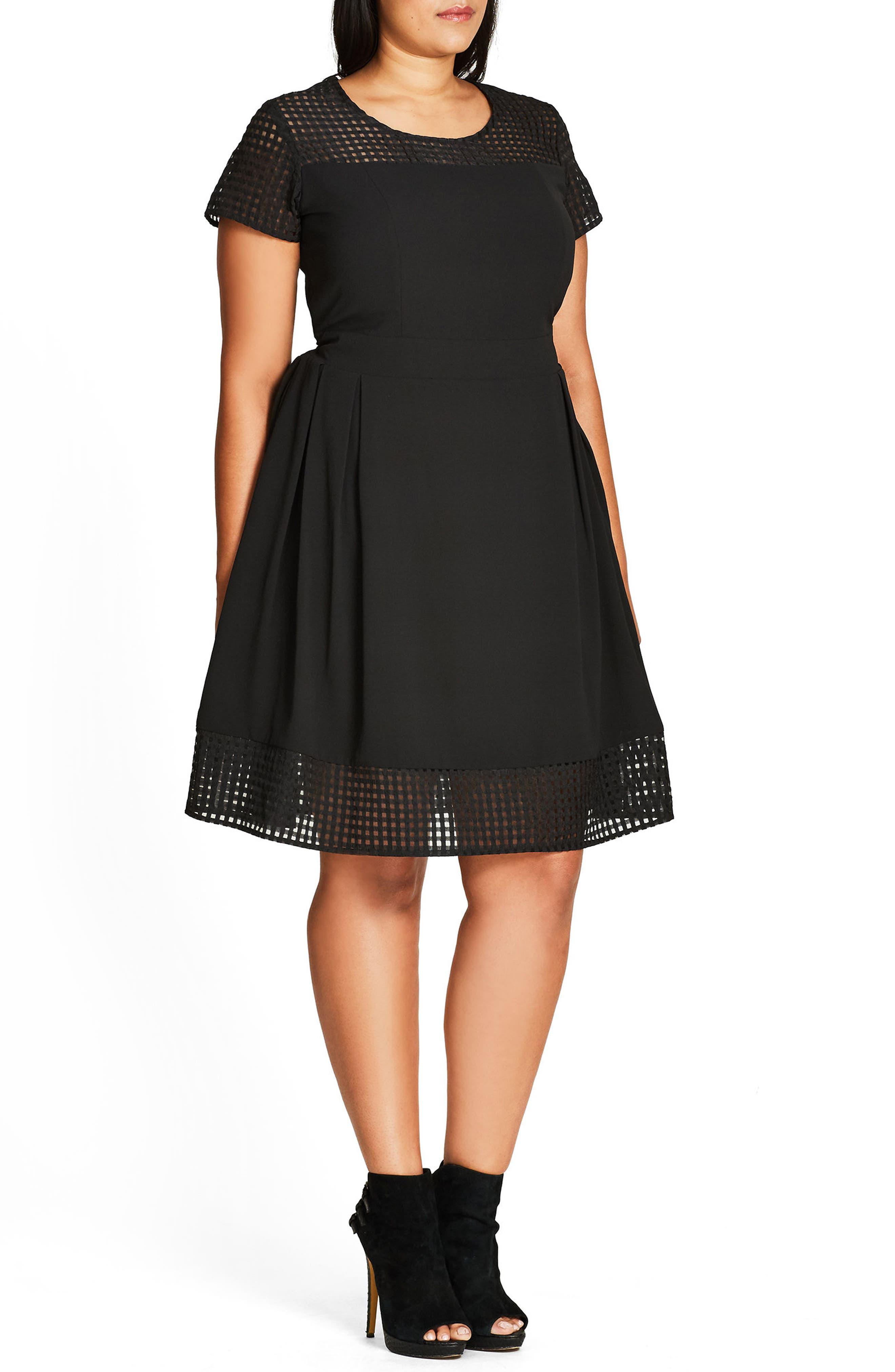 Sweet Texture Fit & Flare Dress,                             Alternate thumbnail 3, color,                             BLACK