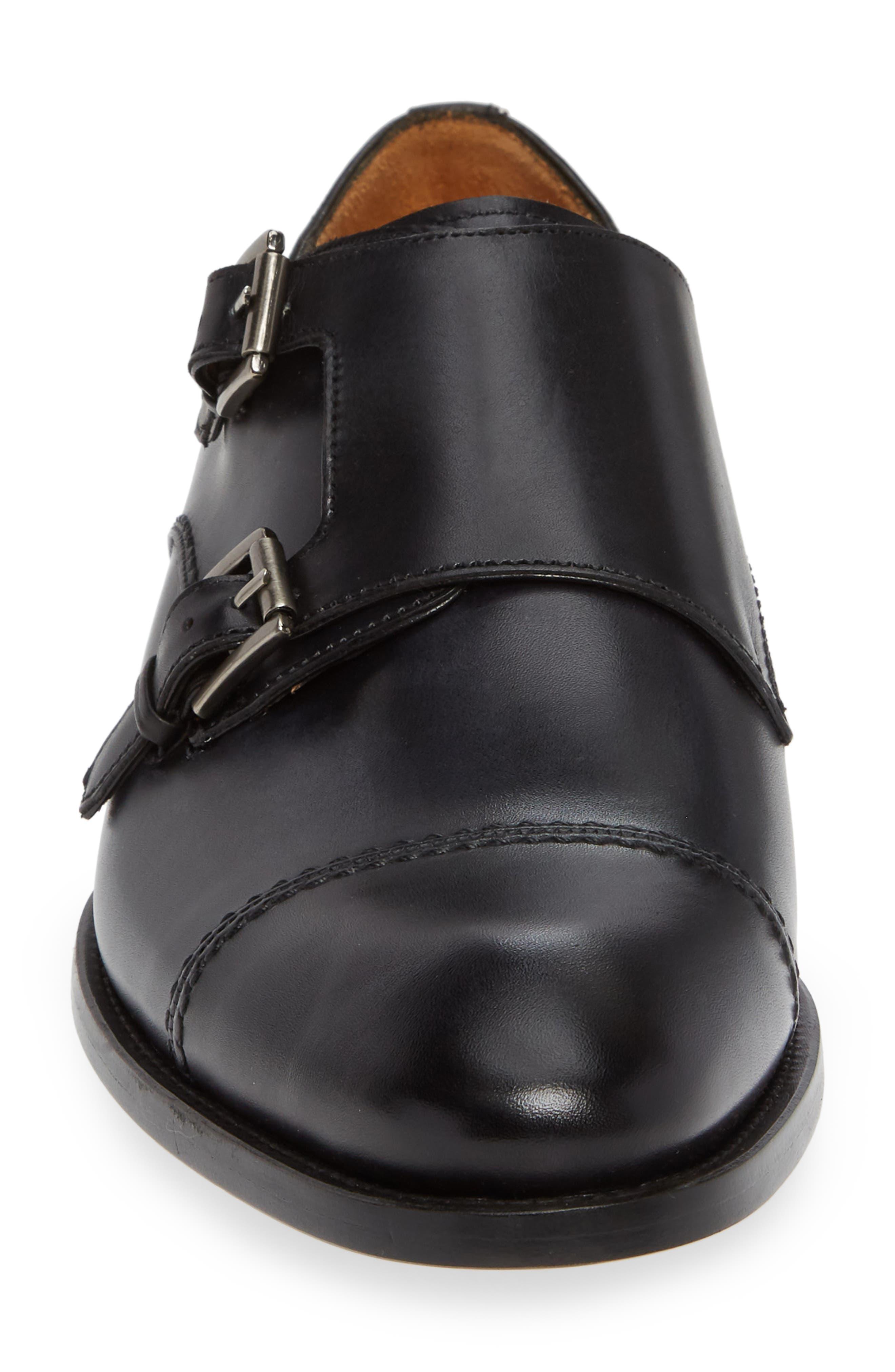 Acosta Double Strap Cap Toe Monk Shoe,                             Alternate thumbnail 4, color,                             BLACK LEATHER
