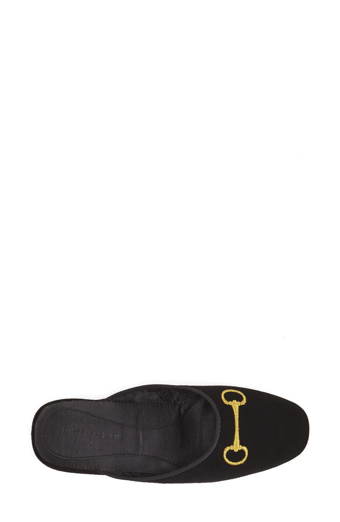 'Milano' Bit Embroidered Slipper,                             Alternate thumbnail 3, color,                             BLACK