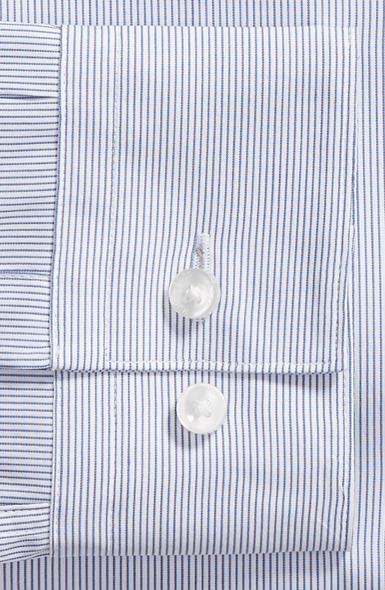 Isko Slim Fit Stretch Stripe Dress Shirt,                             Alternate thumbnail 6, color,                             BLUE