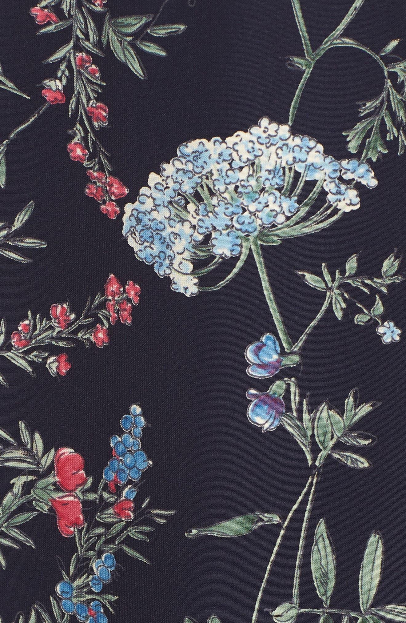 Floral Print Faux Wrap Midi Dress,                             Alternate thumbnail 6, color,                             600
