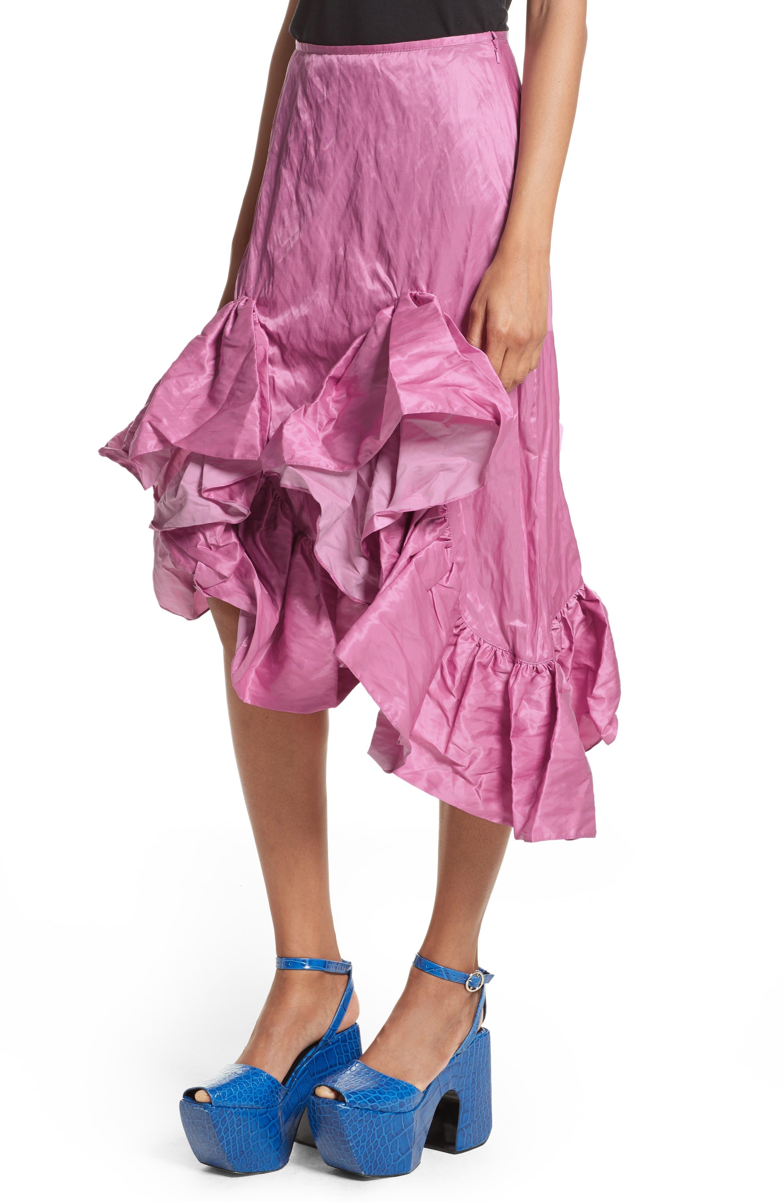 Marques'Almeida Asymmetrical Ruffle Taffeta Skirt,                             Alternate thumbnail 4, color,                             650