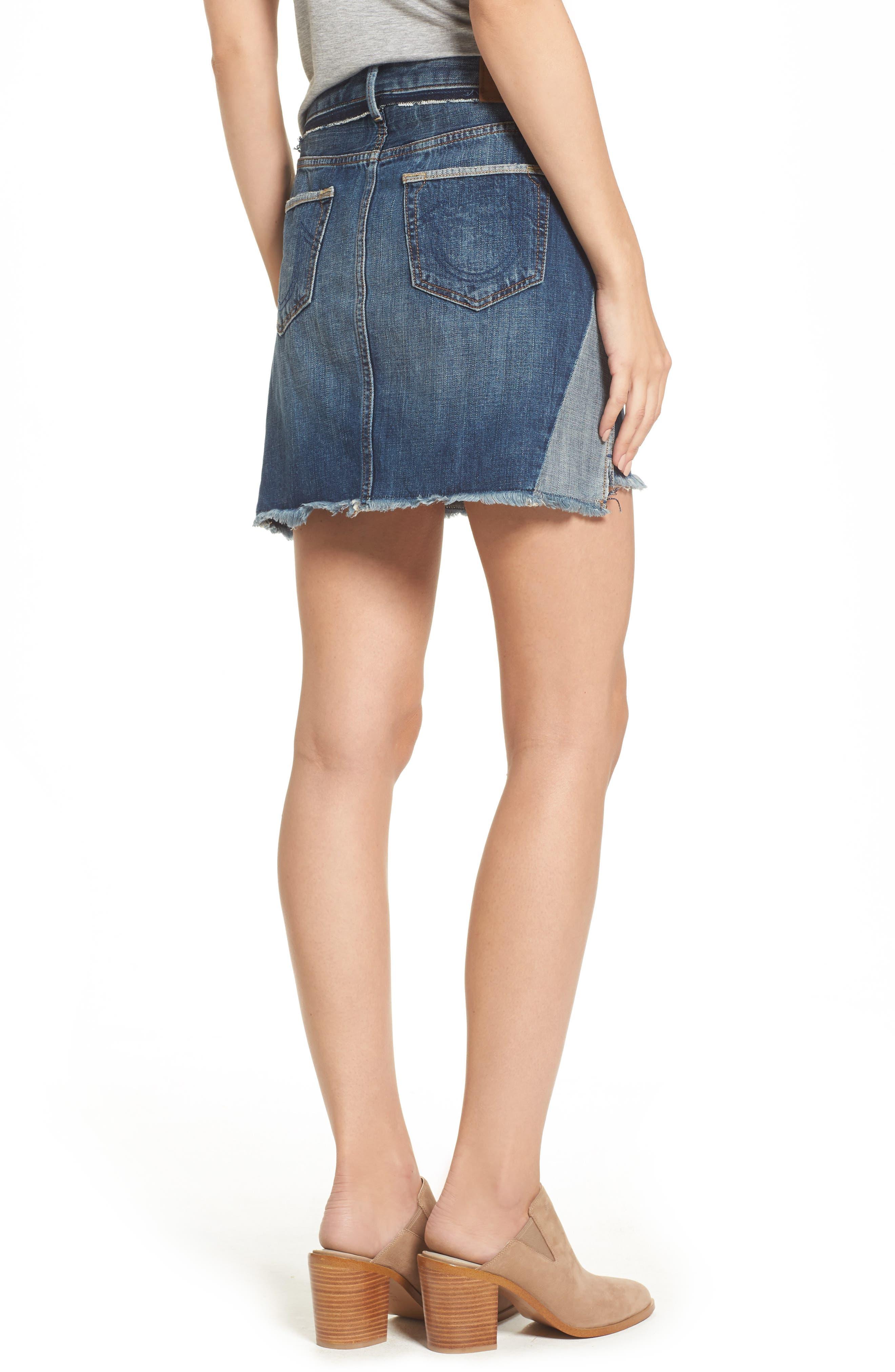 Deconstructed Denim Skirt,                             Alternate thumbnail 2, color,                             401