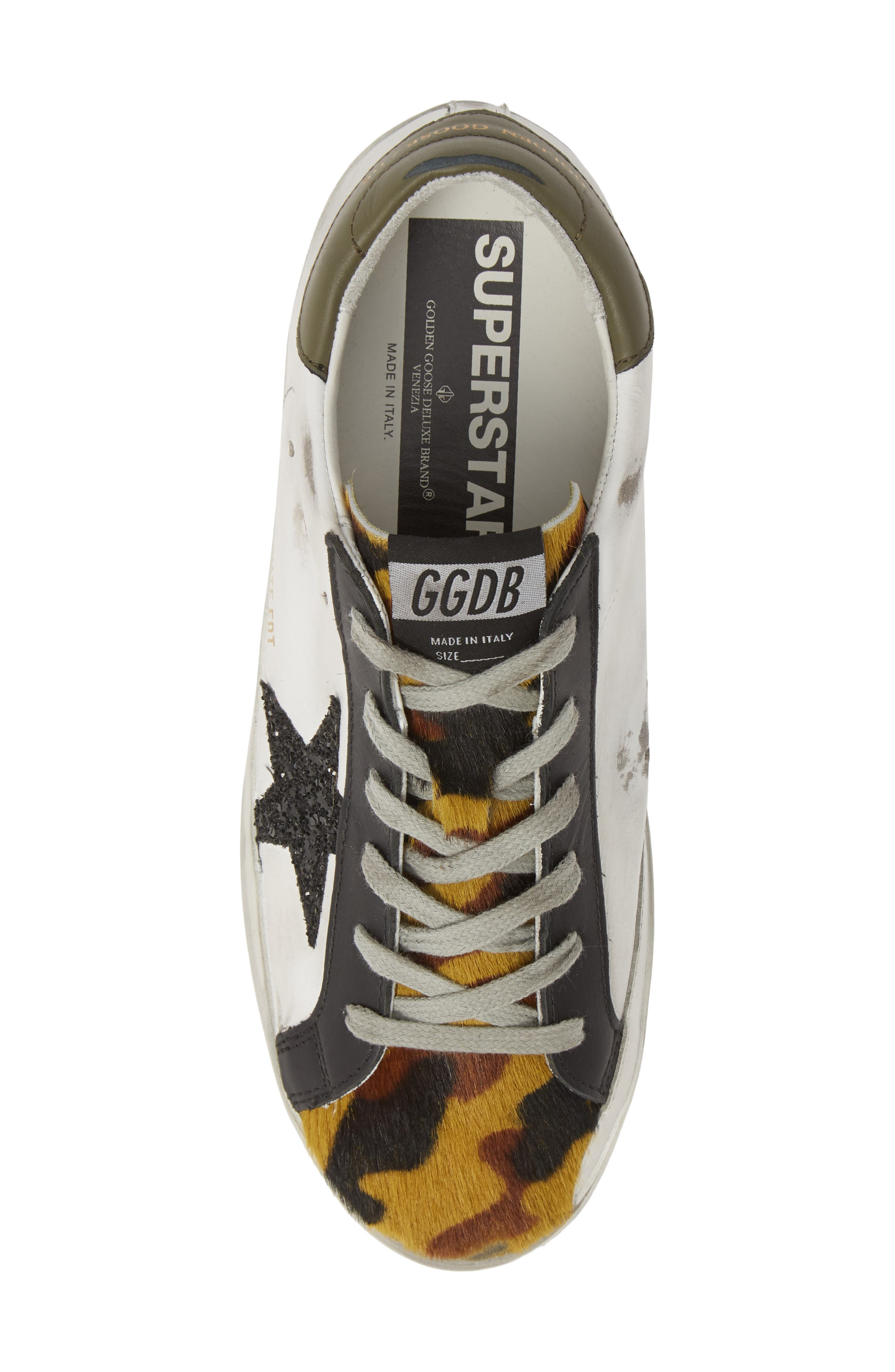 GOLDEN GOOSE,                             Superstar Genuine Calf Hair Sneaker,                             Alternate thumbnail 5, color,                             WHITE/ CAMO