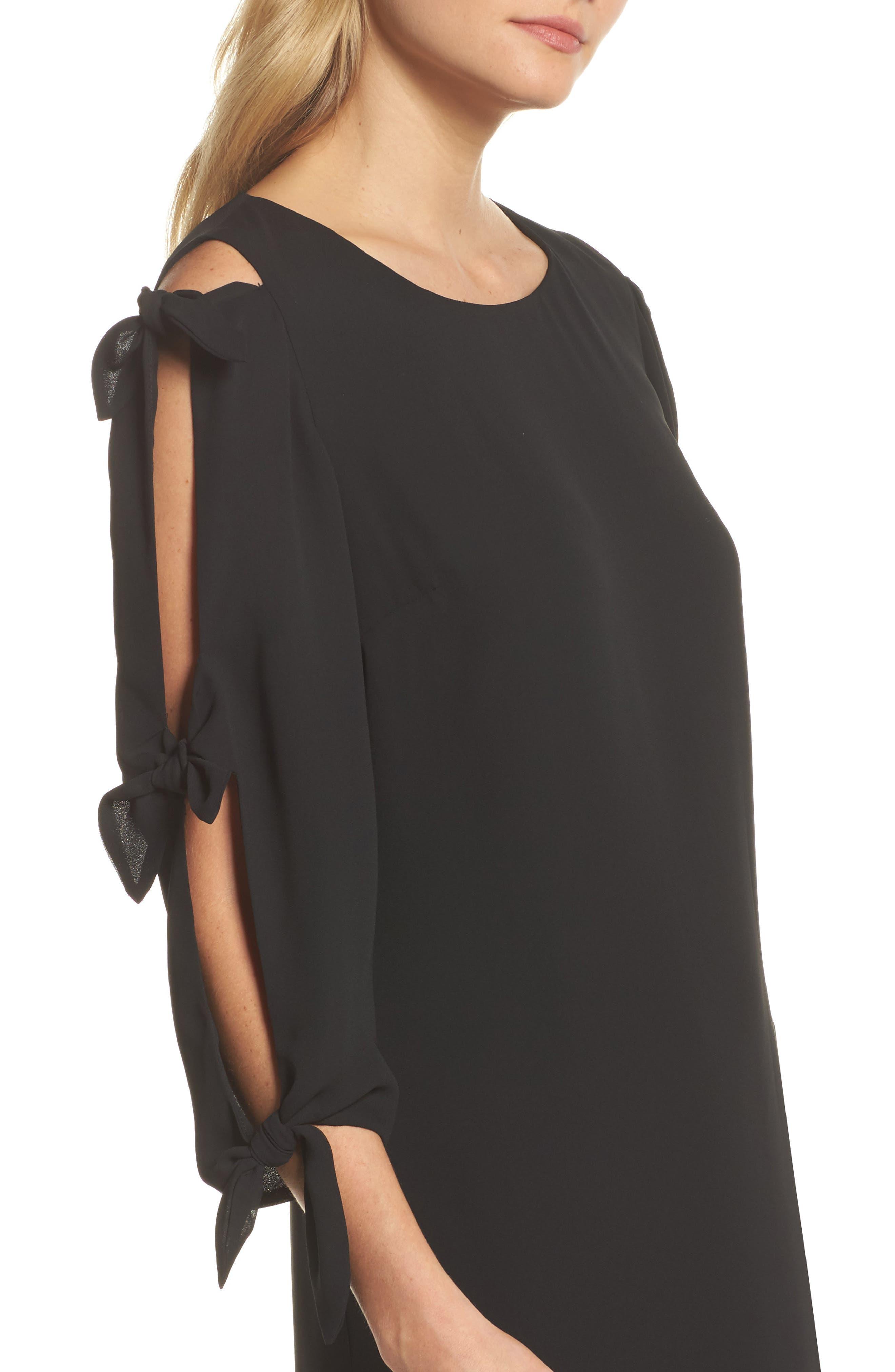 Bow Sleeve Shift Dress,                             Alternate thumbnail 4, color,                             BLACK