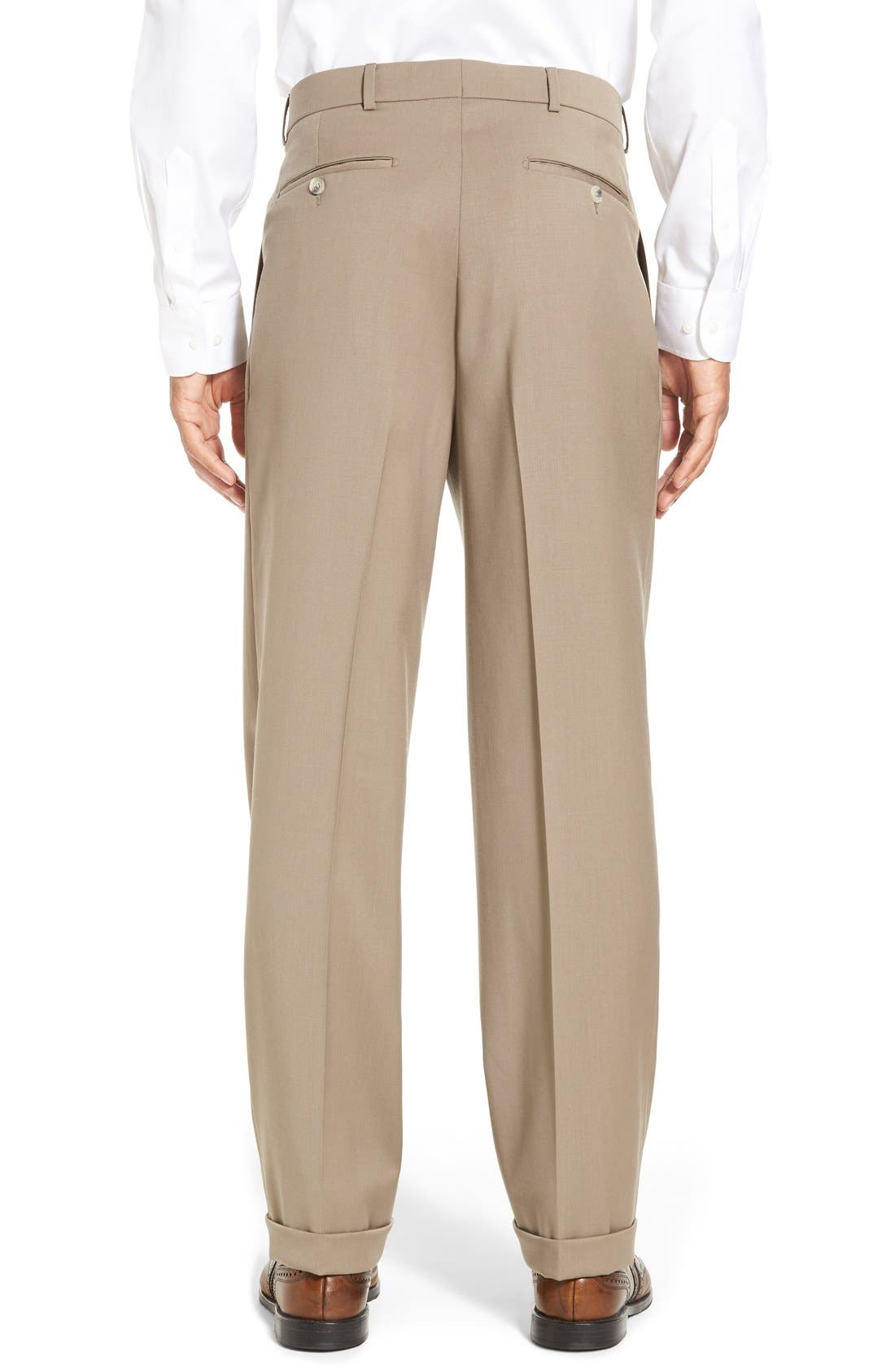 Pleated Solid Wool Trousers,                             Alternate thumbnail 23, color,