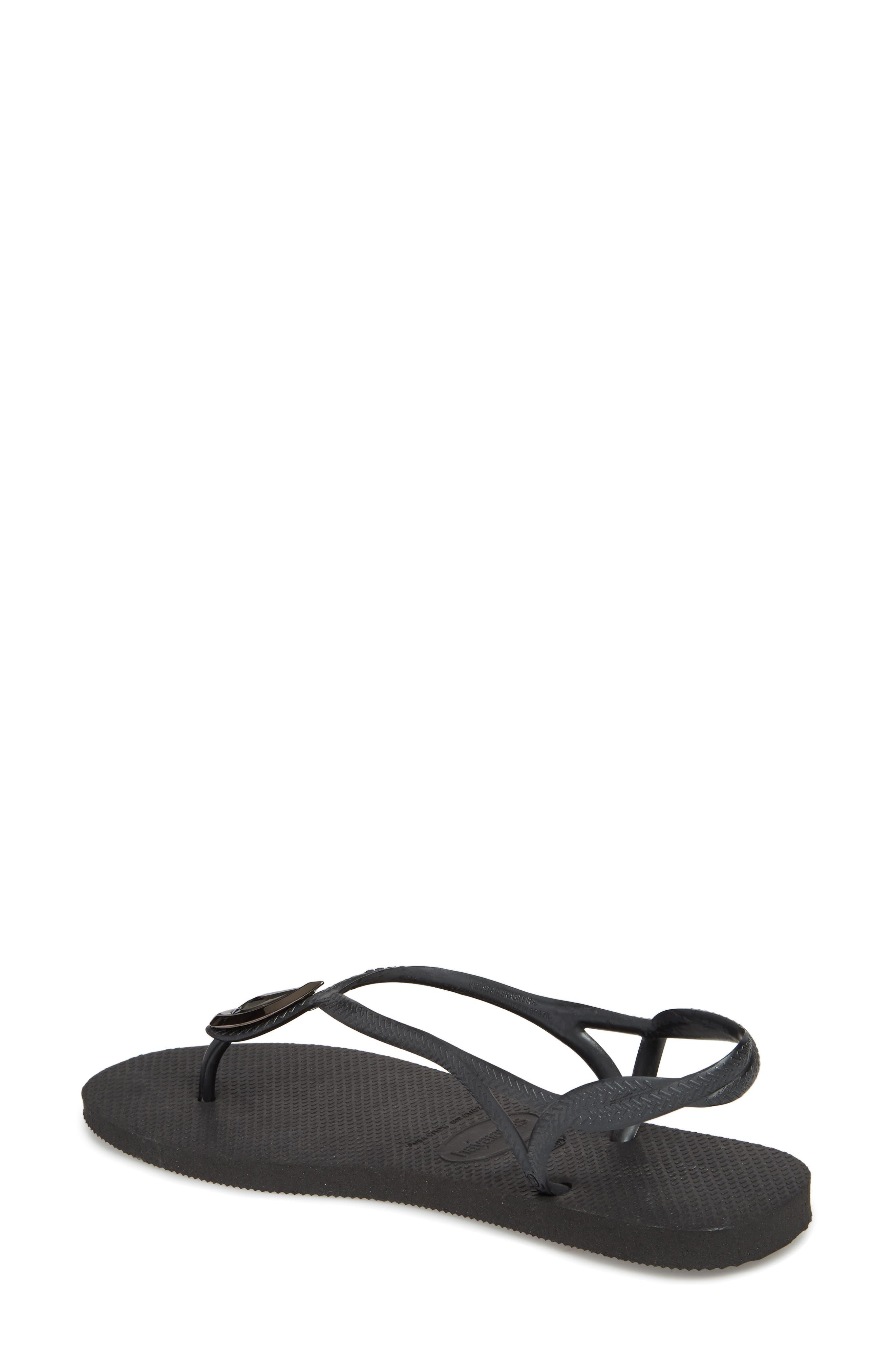Luna Sandal,                             Alternate thumbnail 2, color,                             BLACK/ BLACK