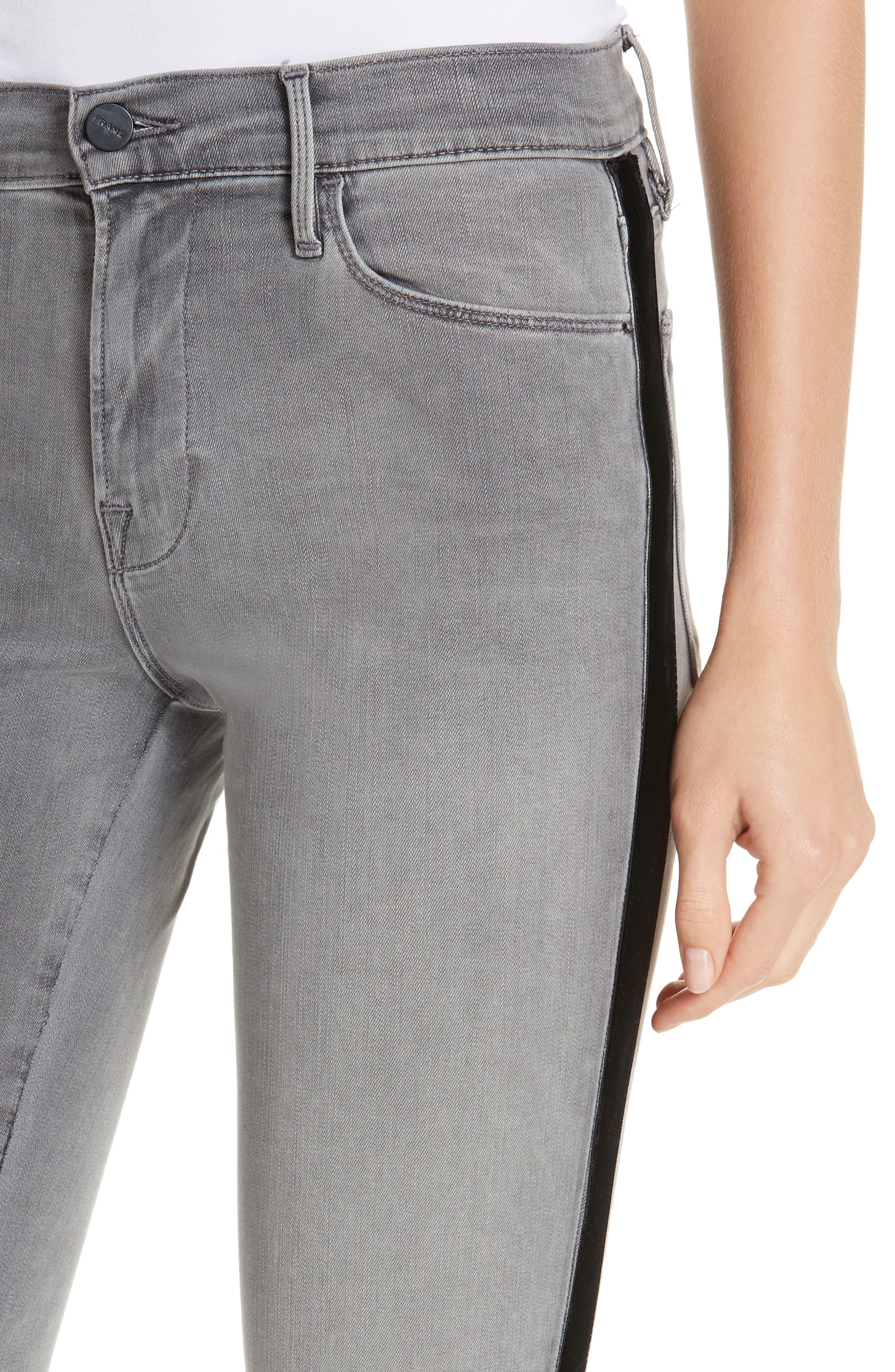 Le High Velvet Tuxedo Stripe Ankle Skinny Jeans,                             Alternate thumbnail 4, color,                             GRIMES