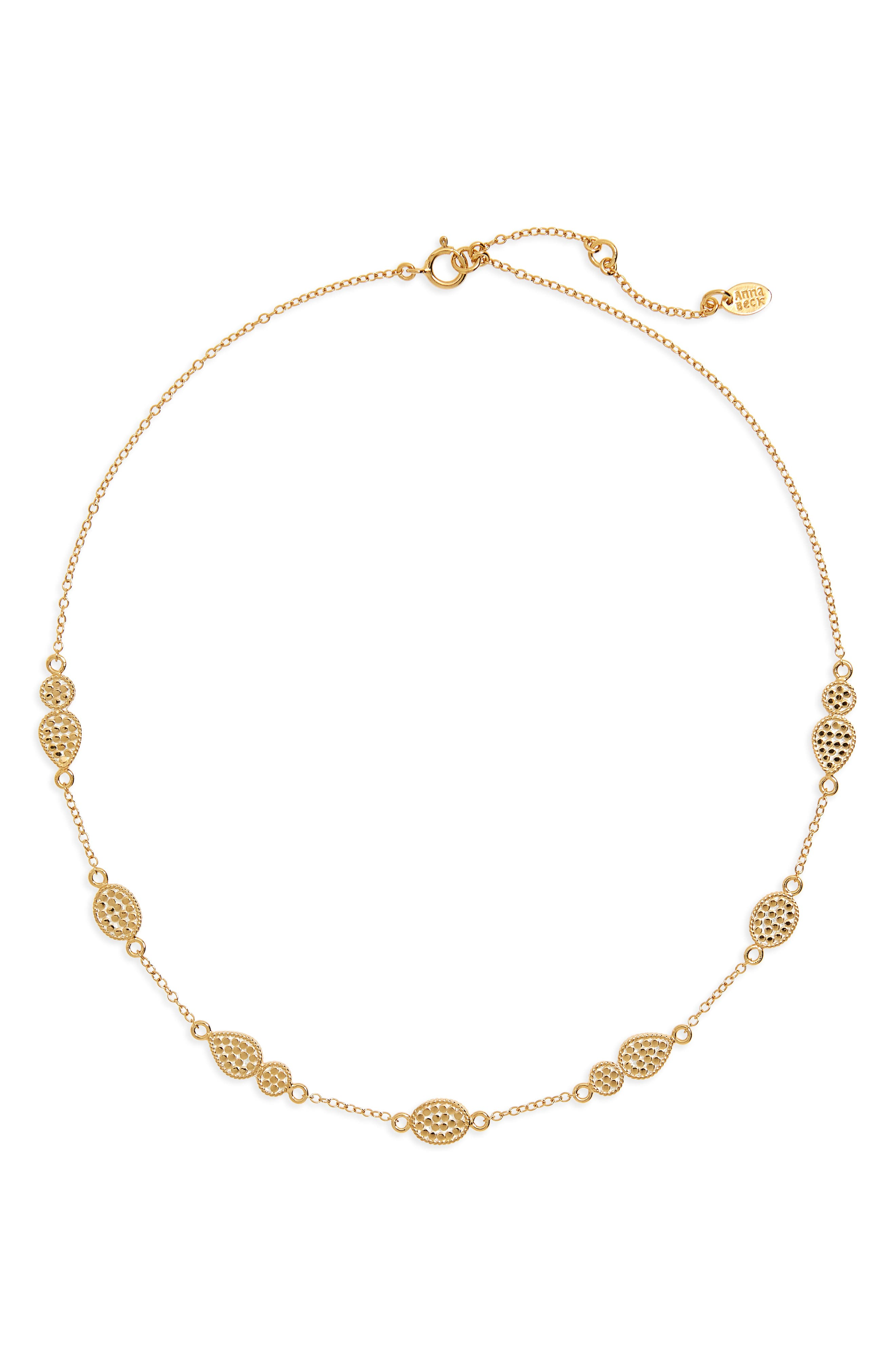Gold Station Collar Necklace,                             Main thumbnail 1, color,                             GOLD