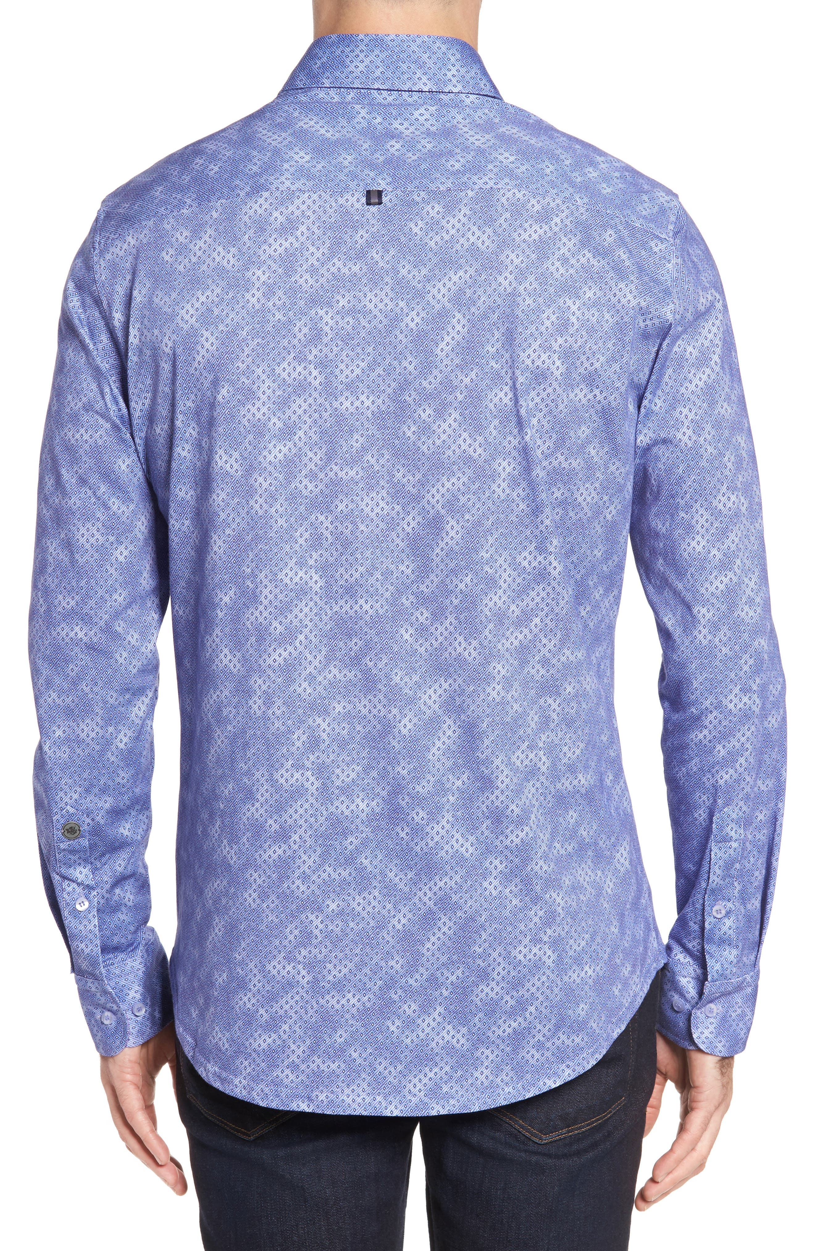 Slim Fit Wavy Diamond Print Sport Shirt,                             Alternate thumbnail 2, color,                             400