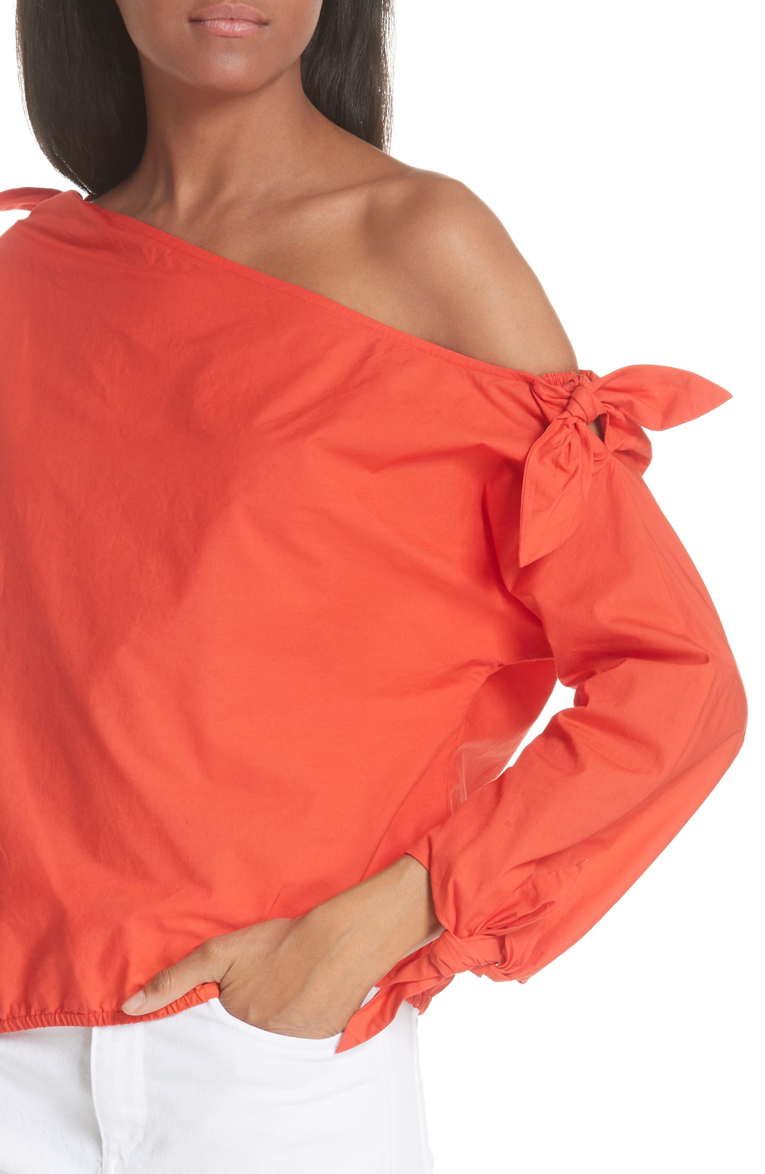 Colissa One-Shoulder Cotton Blouse,                             Alternate thumbnail 4, color,                             800