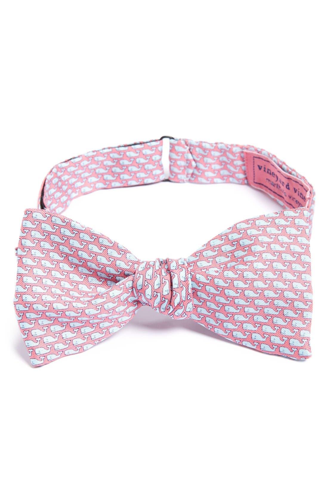 Whale Print Silk Bow Tie,                         Main,                         color, 680