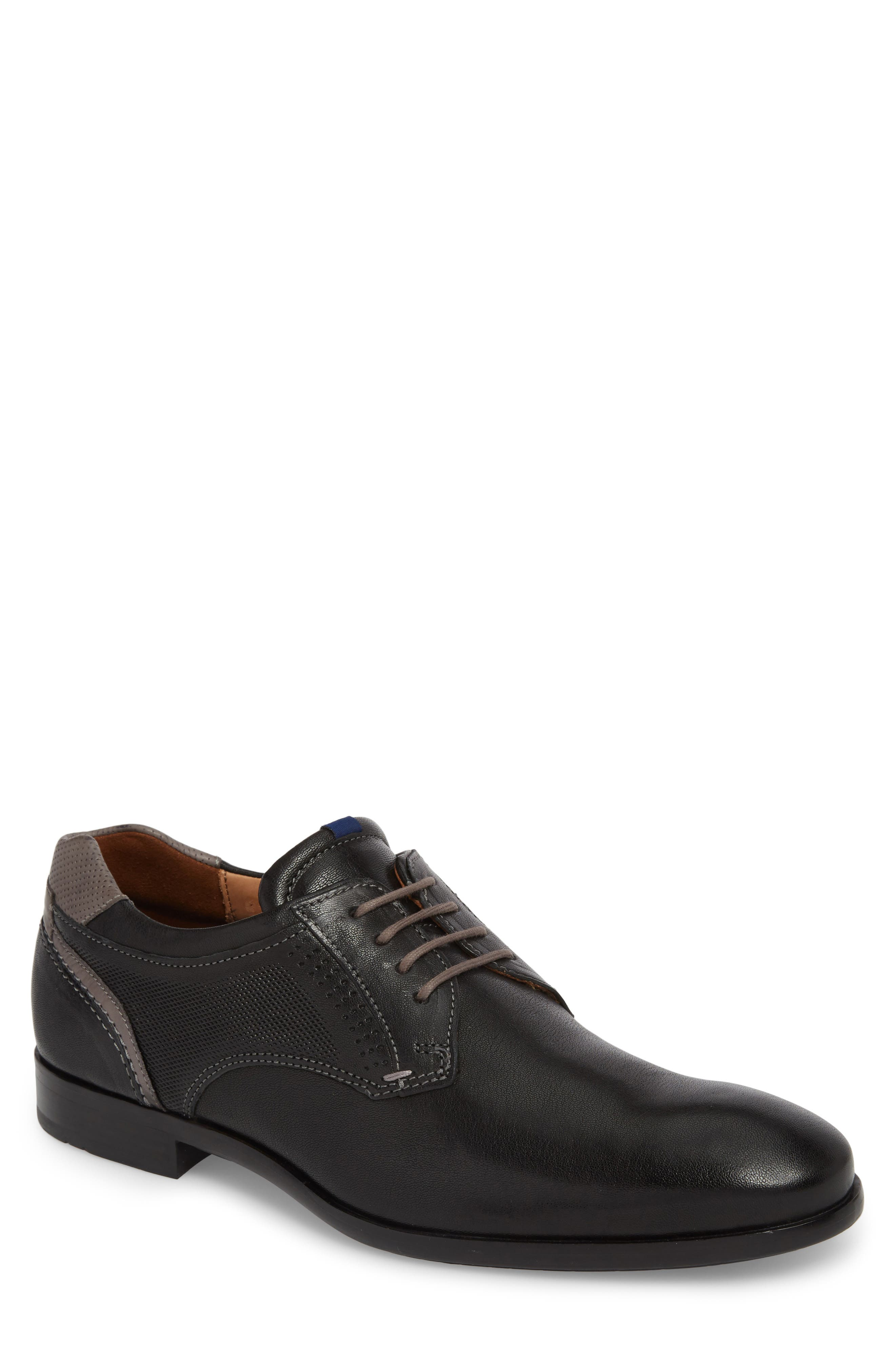 Morice Plain Toe Derby,                         Main,                         color, BLACK/ GREY LEATHER