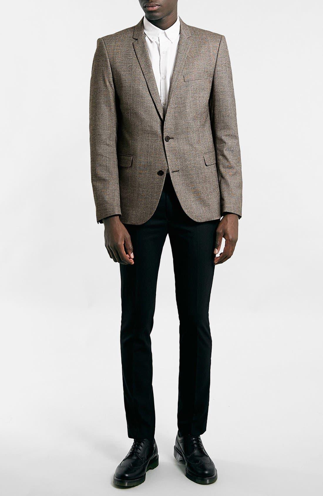 Ultra Skinny Black Suit Trousers,                             Alternate thumbnail 3, color,                             001