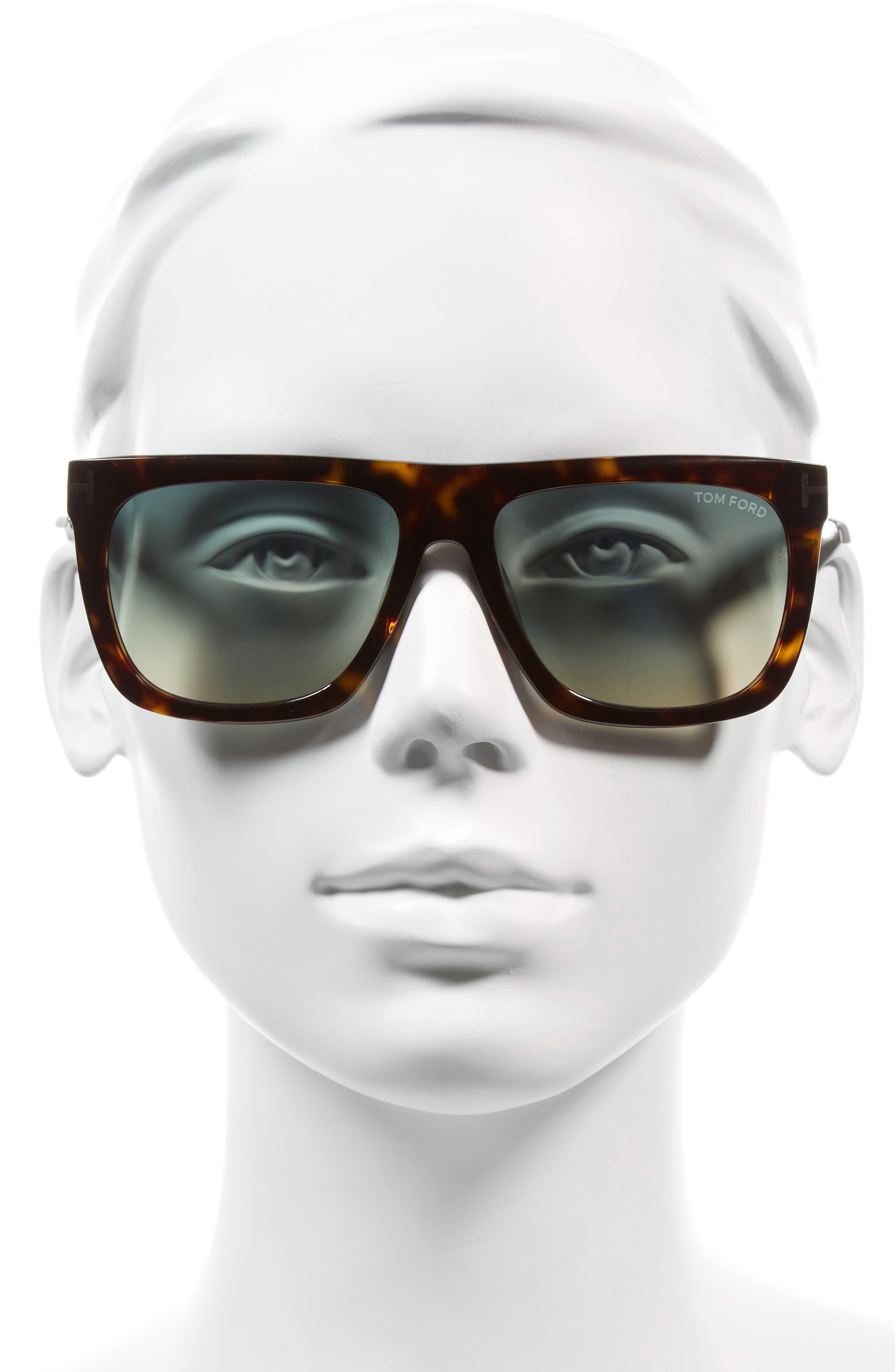 Morgan 57mm Flat Top Sunglasses,                             Alternate thumbnail 2, color,                             HAVANA/ TURQUOISE GRADIENT