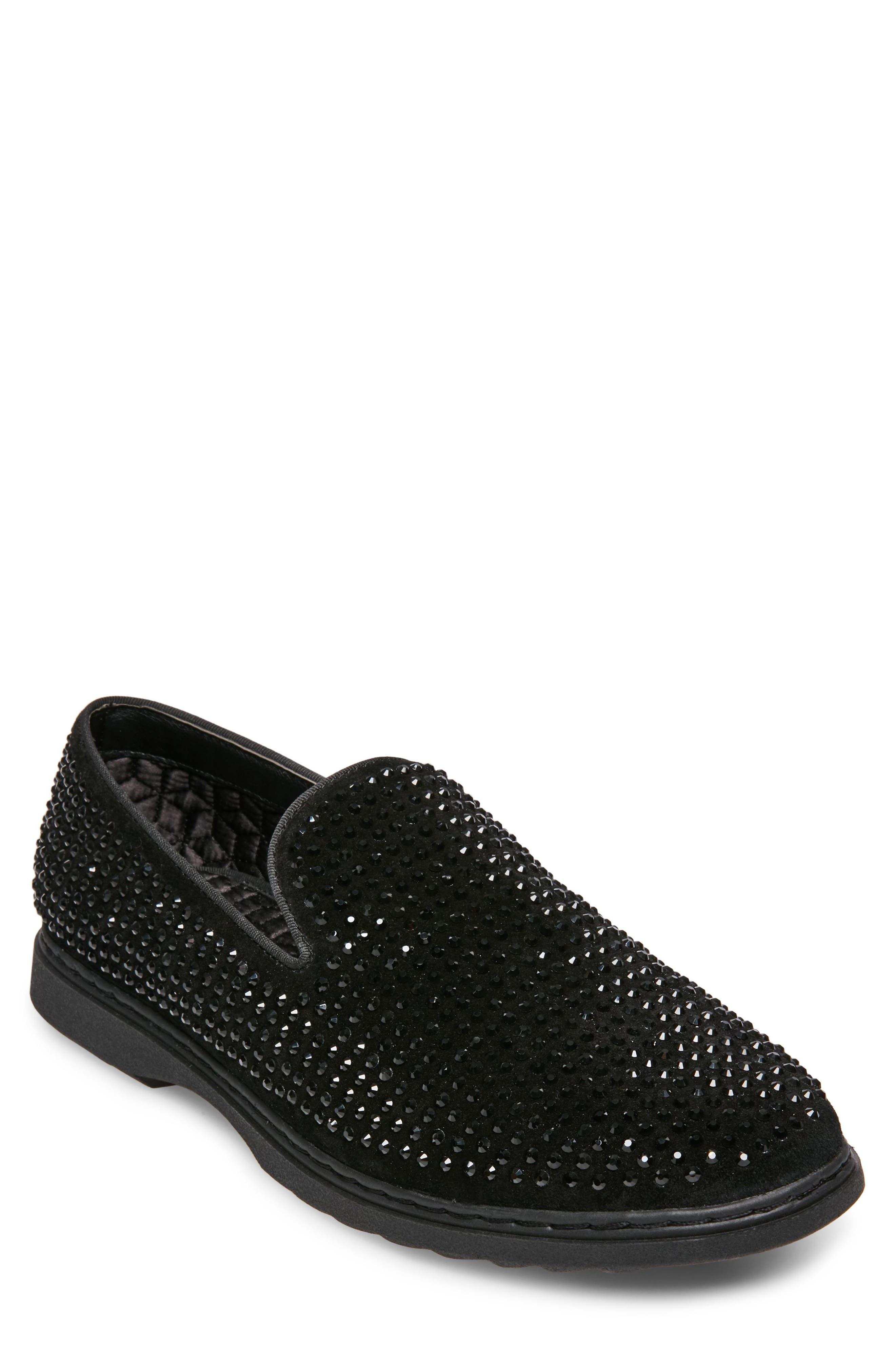 Grinder Embellished Venetian Loafer,                         Main,                         color, BLACK LEATHER
