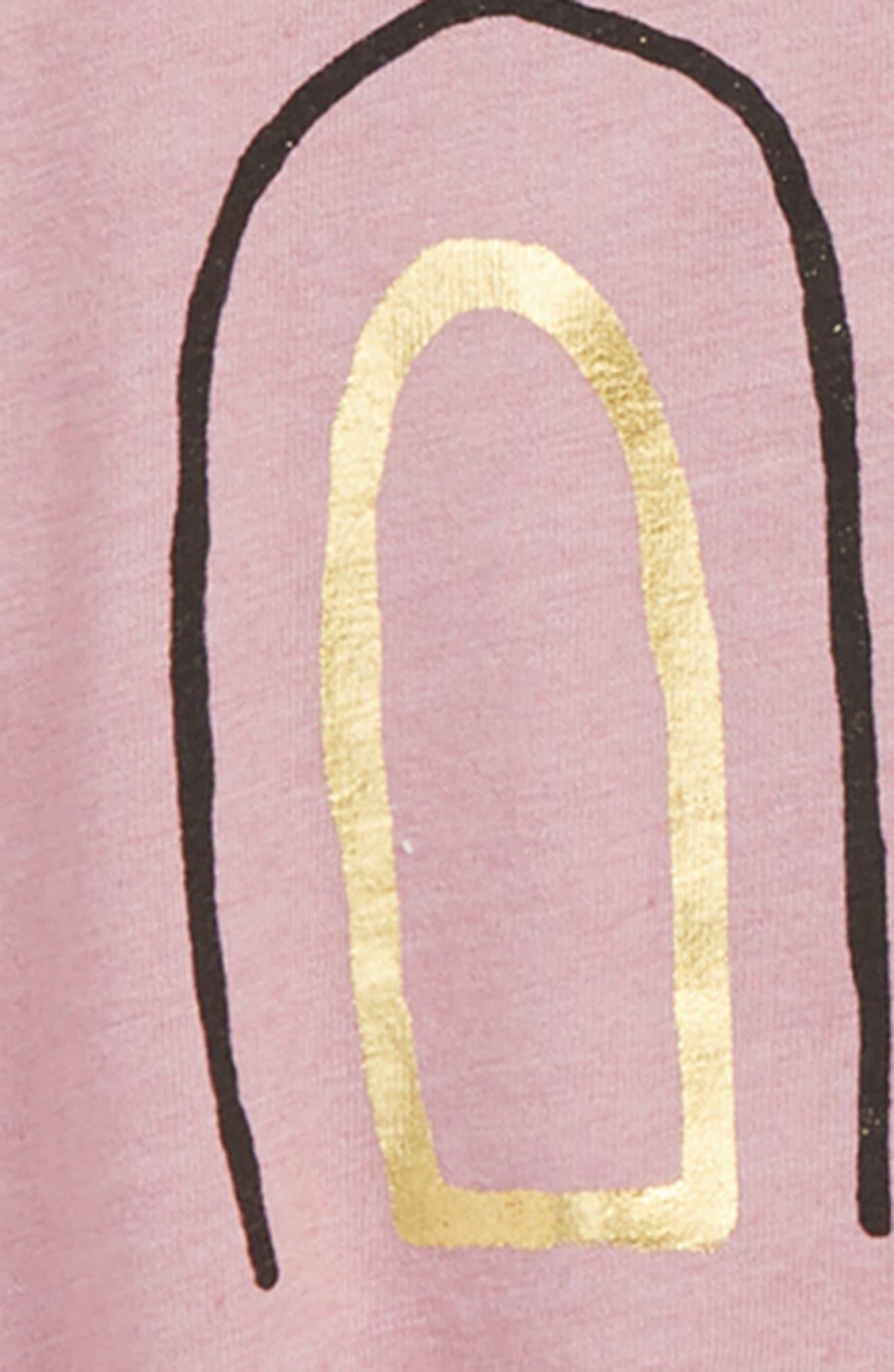 Graphic Ruffle Sleeve Tee,                             Alternate thumbnail 2, color,                             PURPLE CLOUD BUNNY FACE
