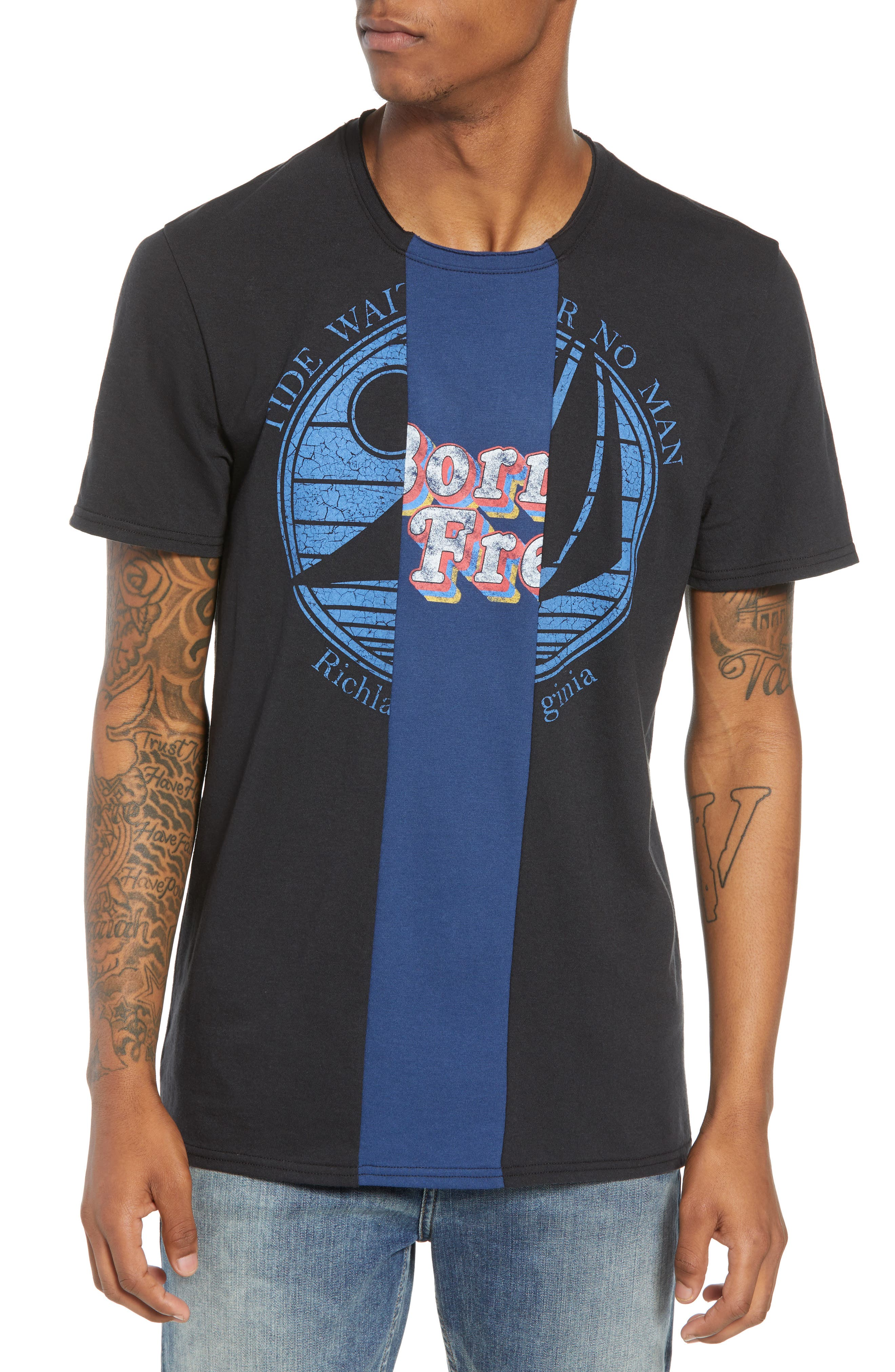 Tri-Splice T-Shirt,                         Main,                         color, BLACK NAVY SKI SPLICE