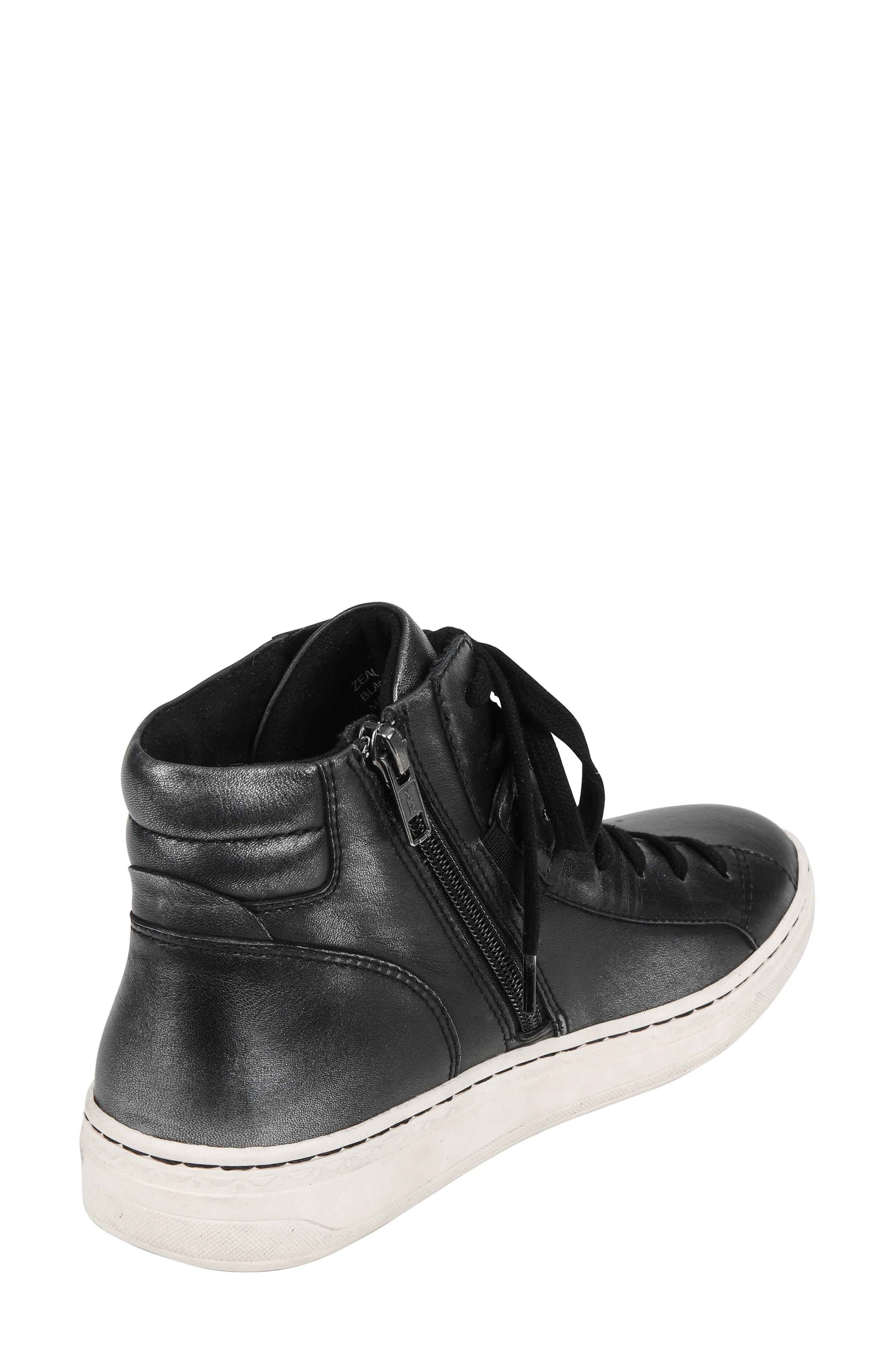 Zeal High Top Sneaker,                             Alternate thumbnail 2, color,                             BLACK METALLIC LEATHER