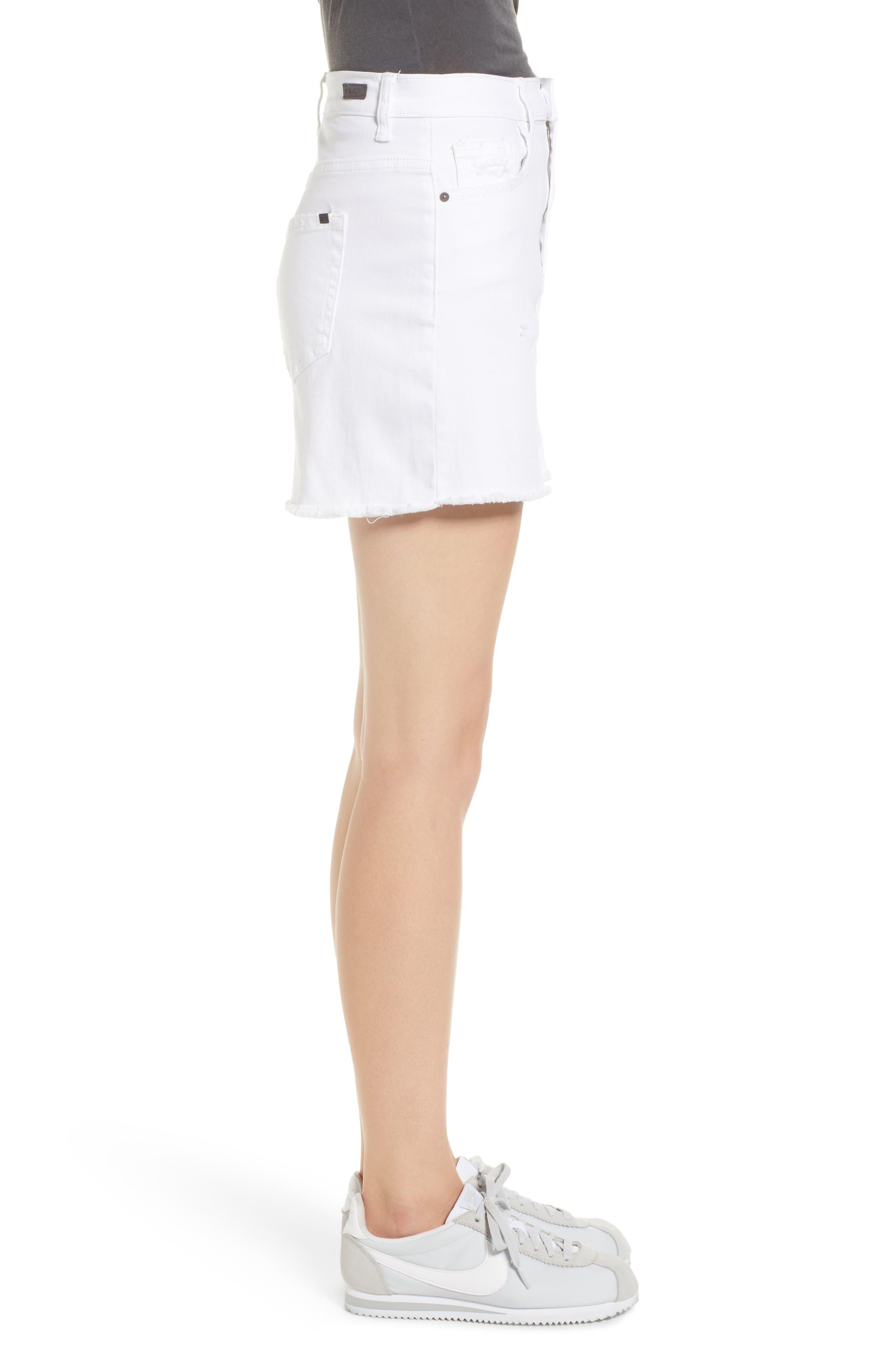 Raw Hem Denim Miniskirt,                             Alternate thumbnail 3, color,                             100