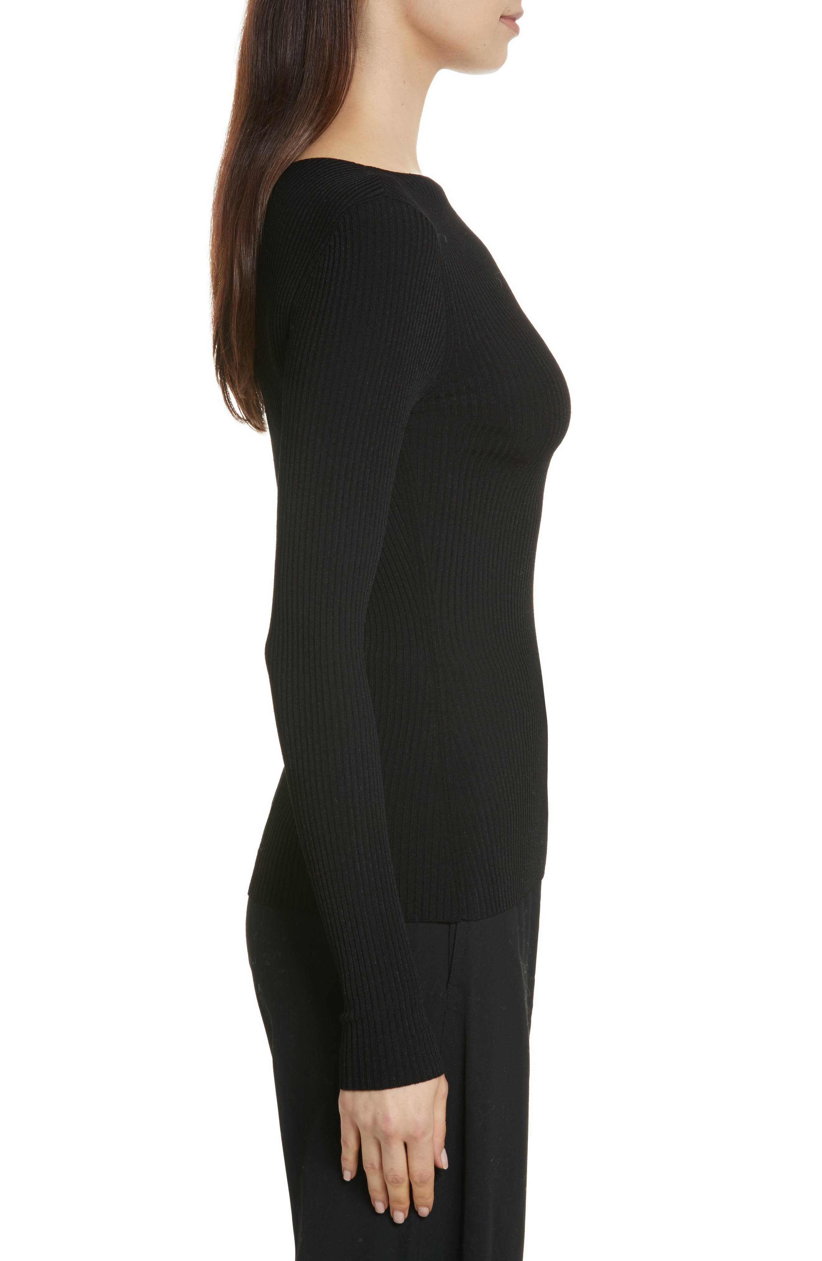 Boat Neck Ribbed Top,                             Alternate thumbnail 5, color,
