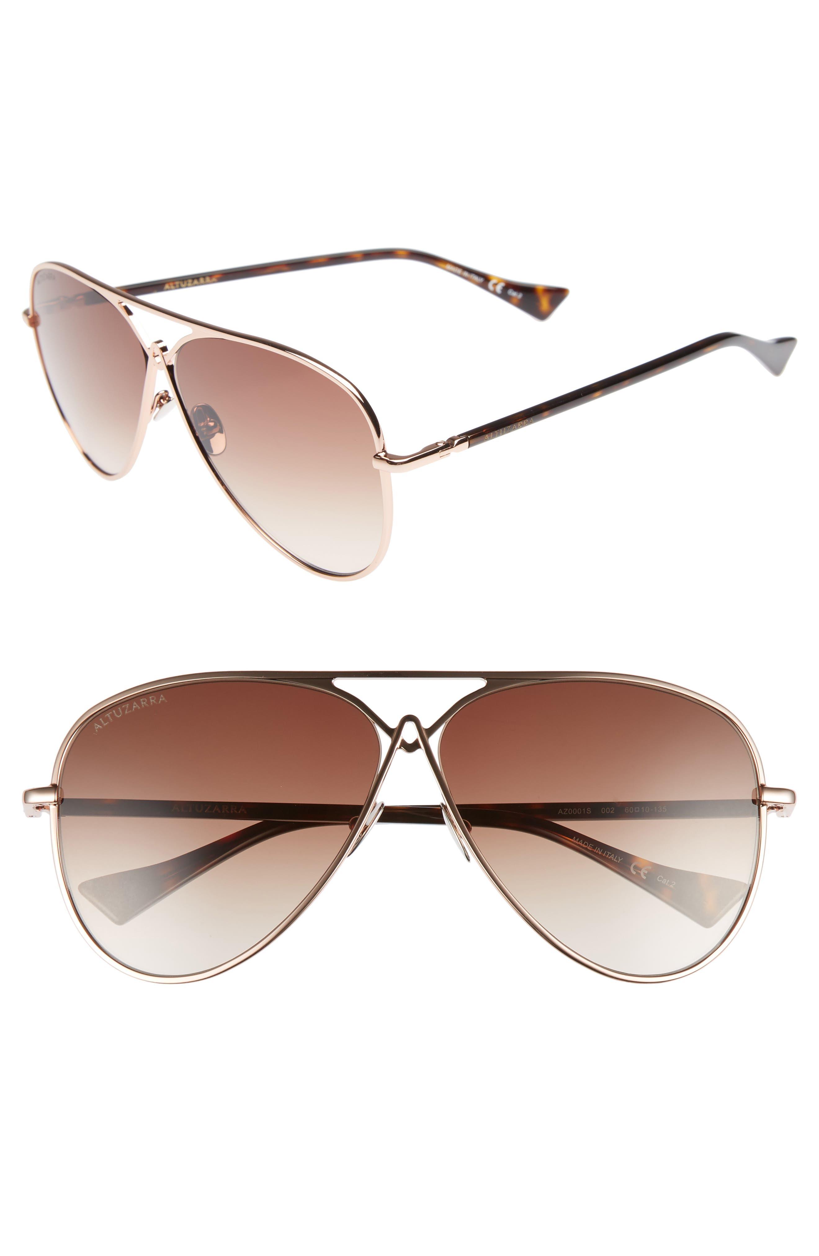 60mm Metal Aviator Sunglasses,                         Main,                         color, ROSE GOLD