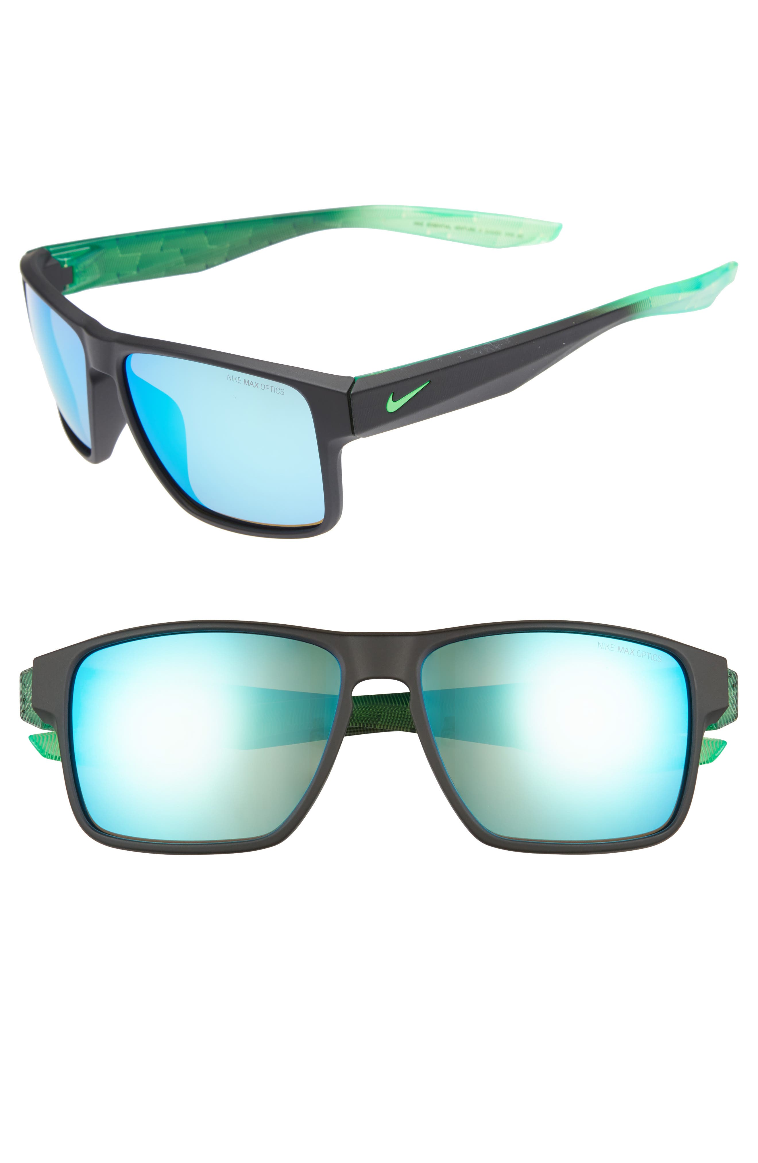 Essential Venture R 59mm Sunglasses,                         Main,                         color, MATTE BLACK/ GREEN
