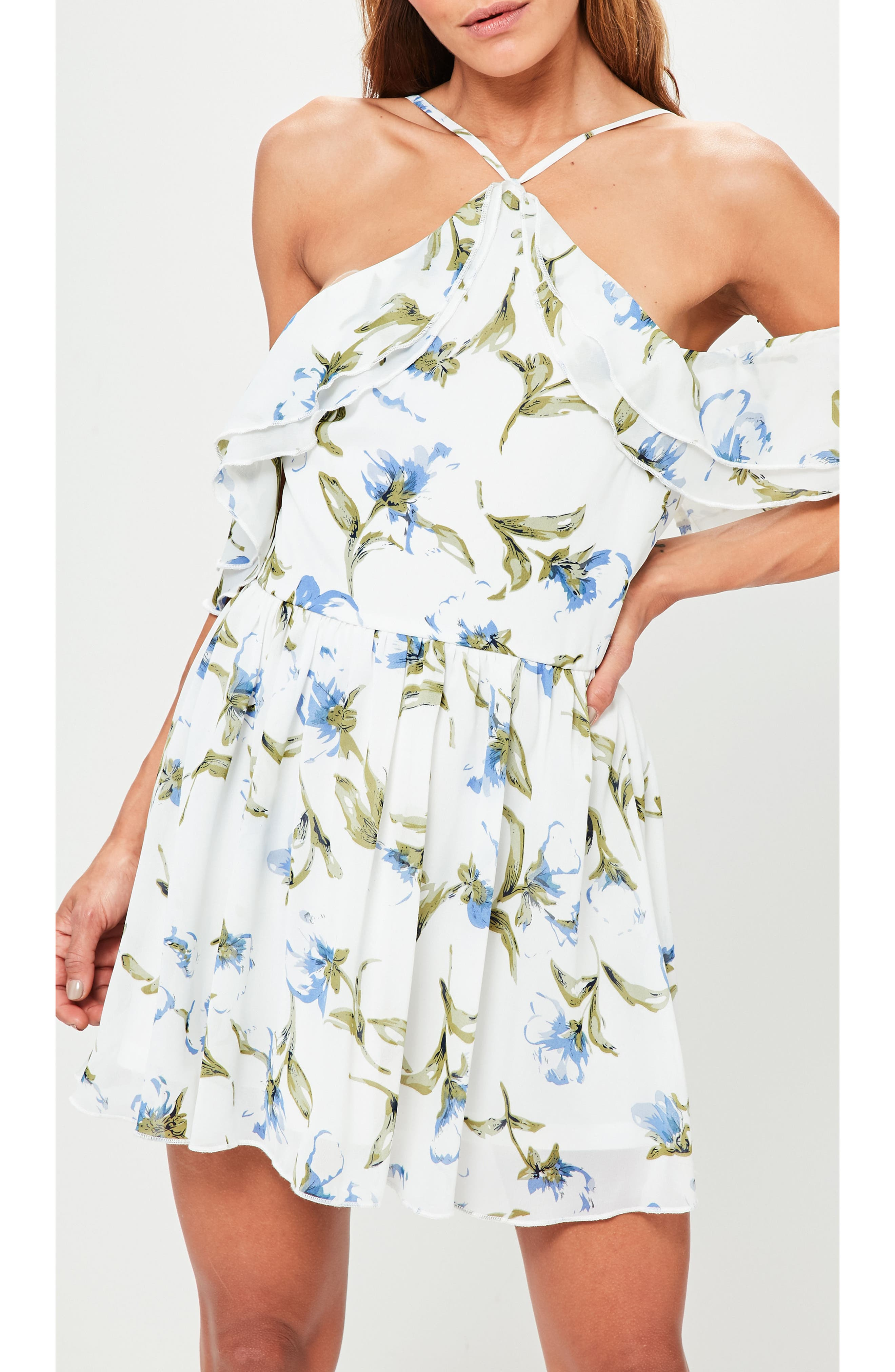 Floral Off the Shoulder Minidress,                             Alternate thumbnail 4, color,                             100