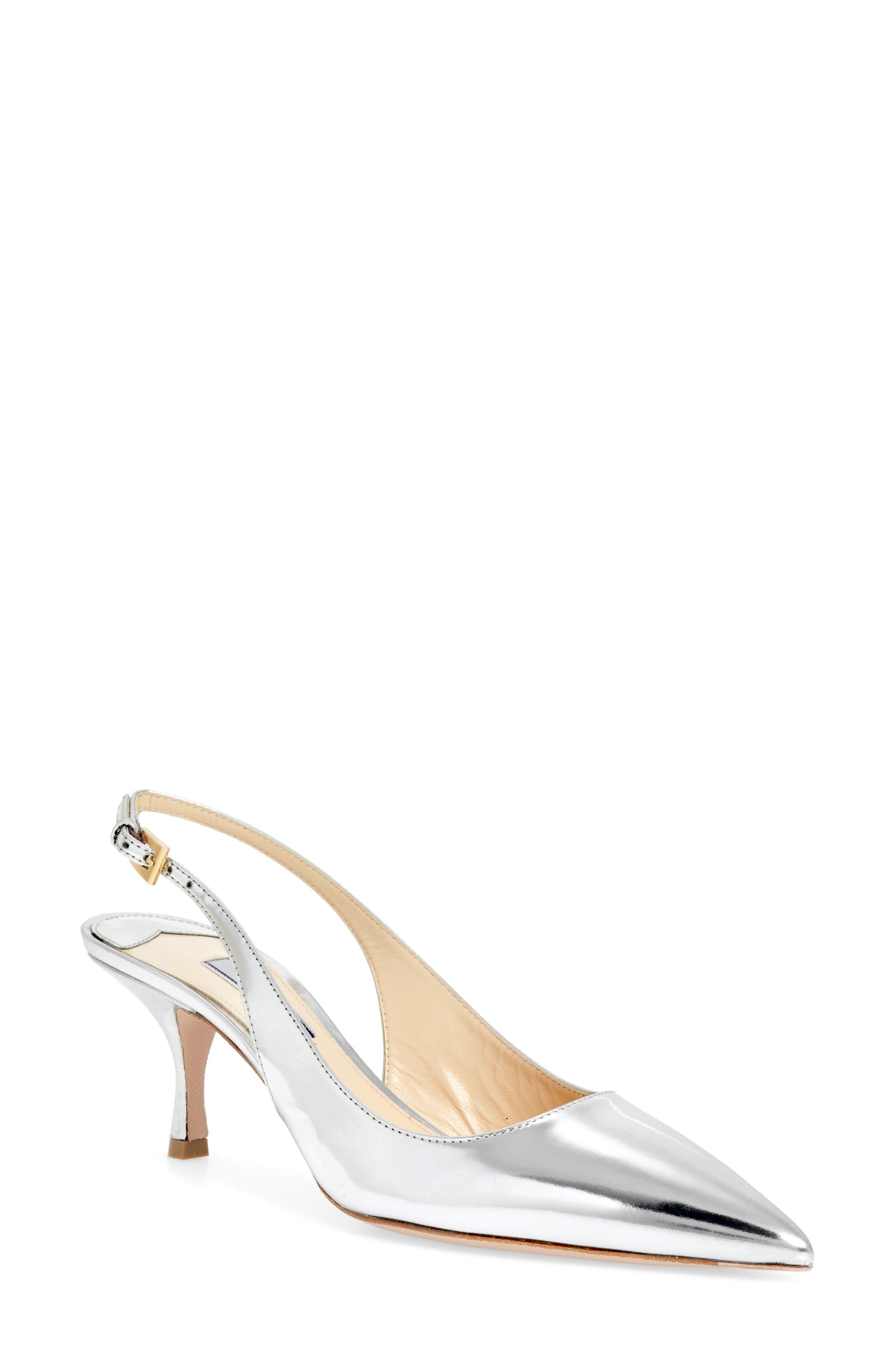 Pointy Toe Slingback Sandal,                         Main,                         color, SILVER