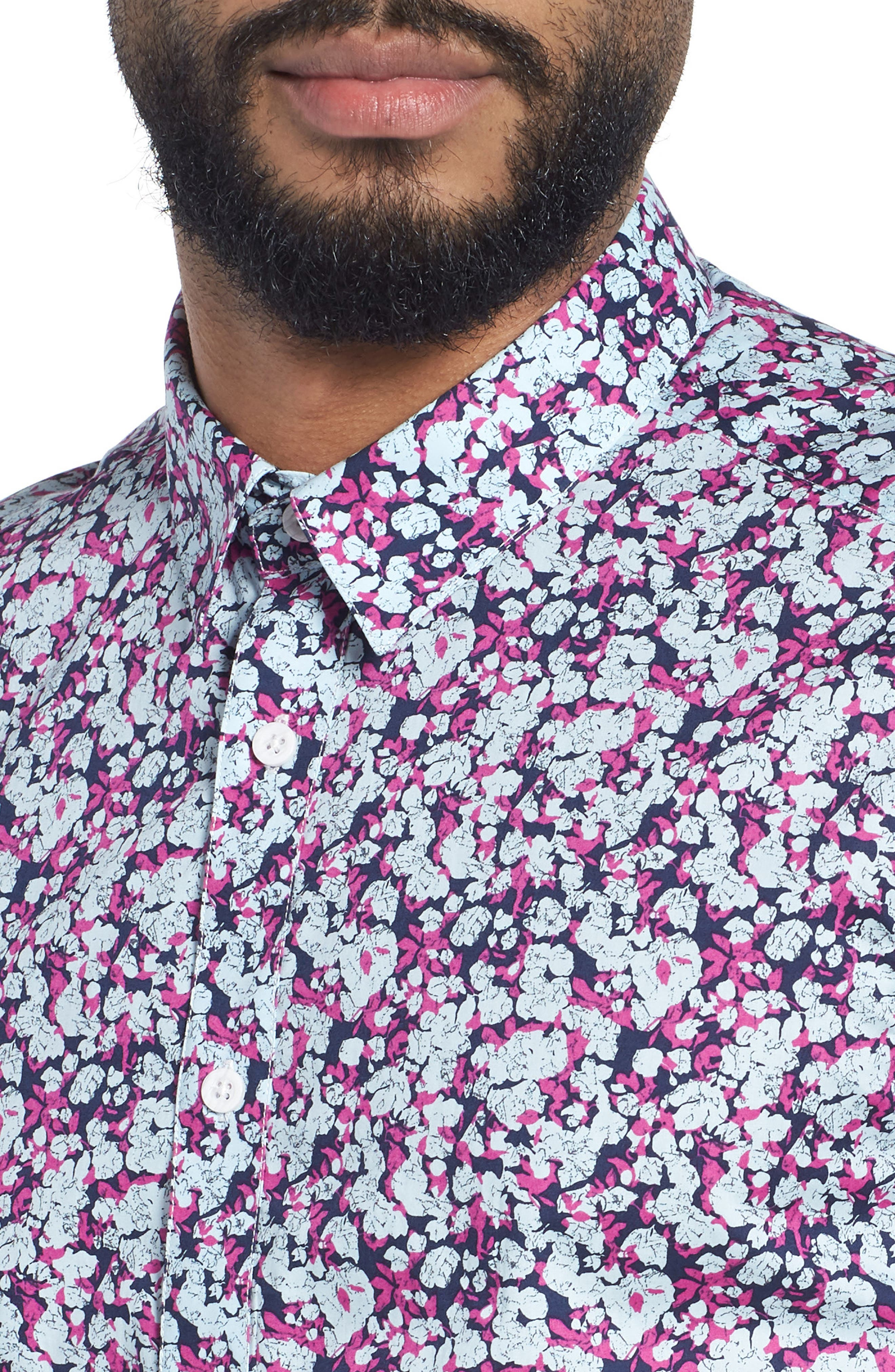 Print Woven Short Sleeve Shirt,                             Alternate thumbnail 4, color,                             655