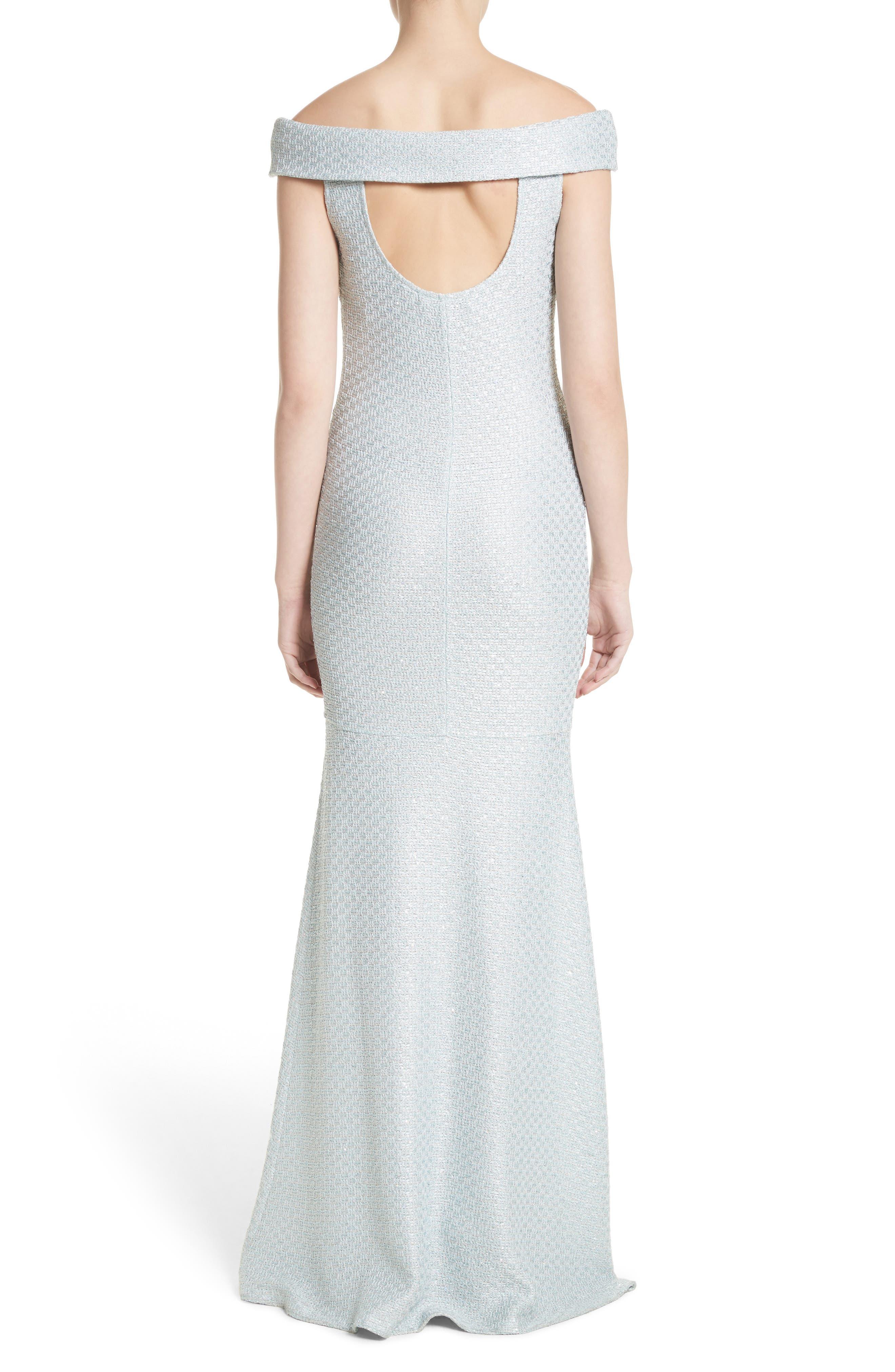 Hansh Sequin Knit Off the Shoulder Gown,                             Alternate thumbnail 2, color,                             MINT