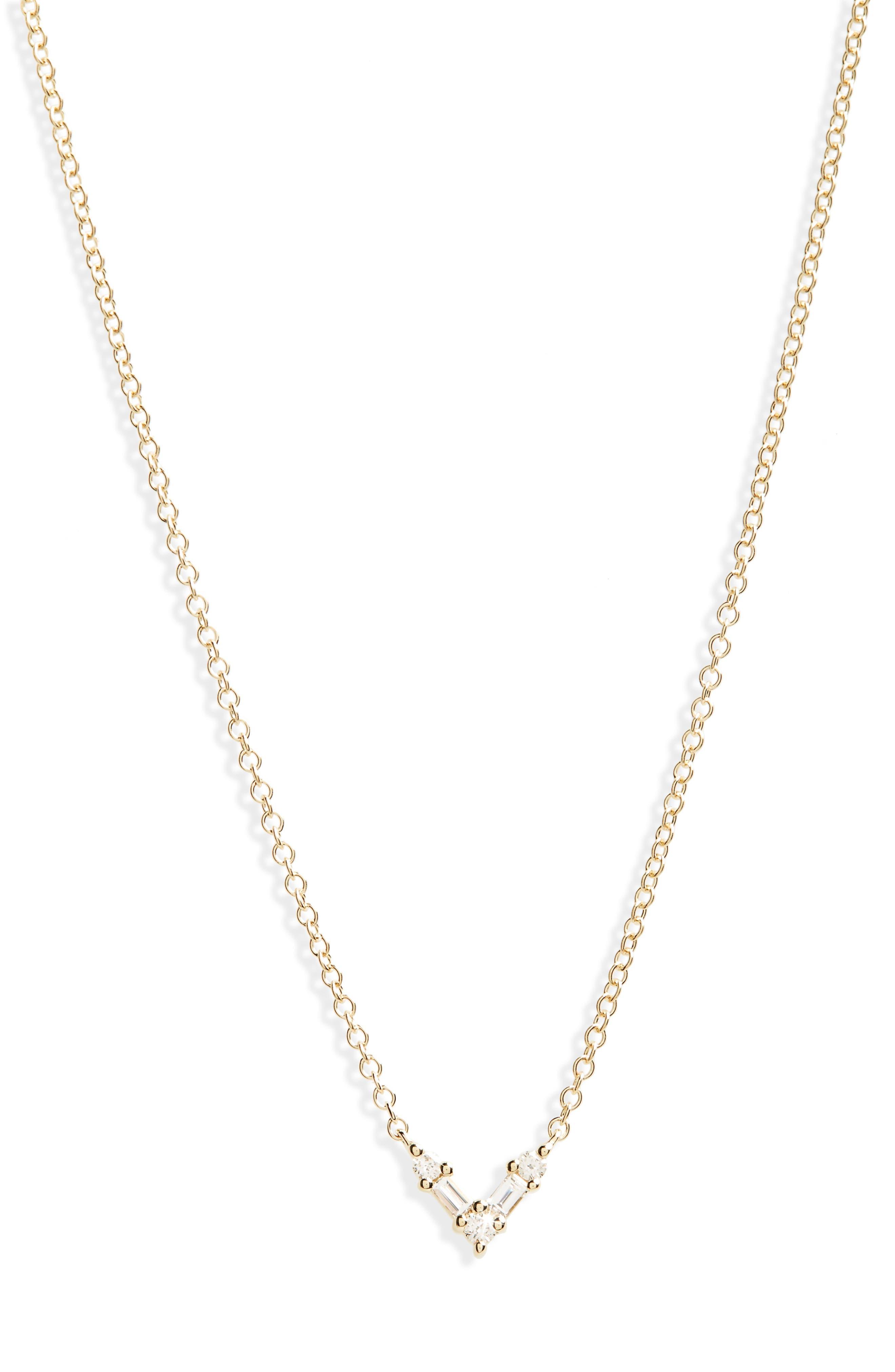 Mini Chevron Diamond Pendant Necklace,                         Main,                         color, YELLOW GOLD