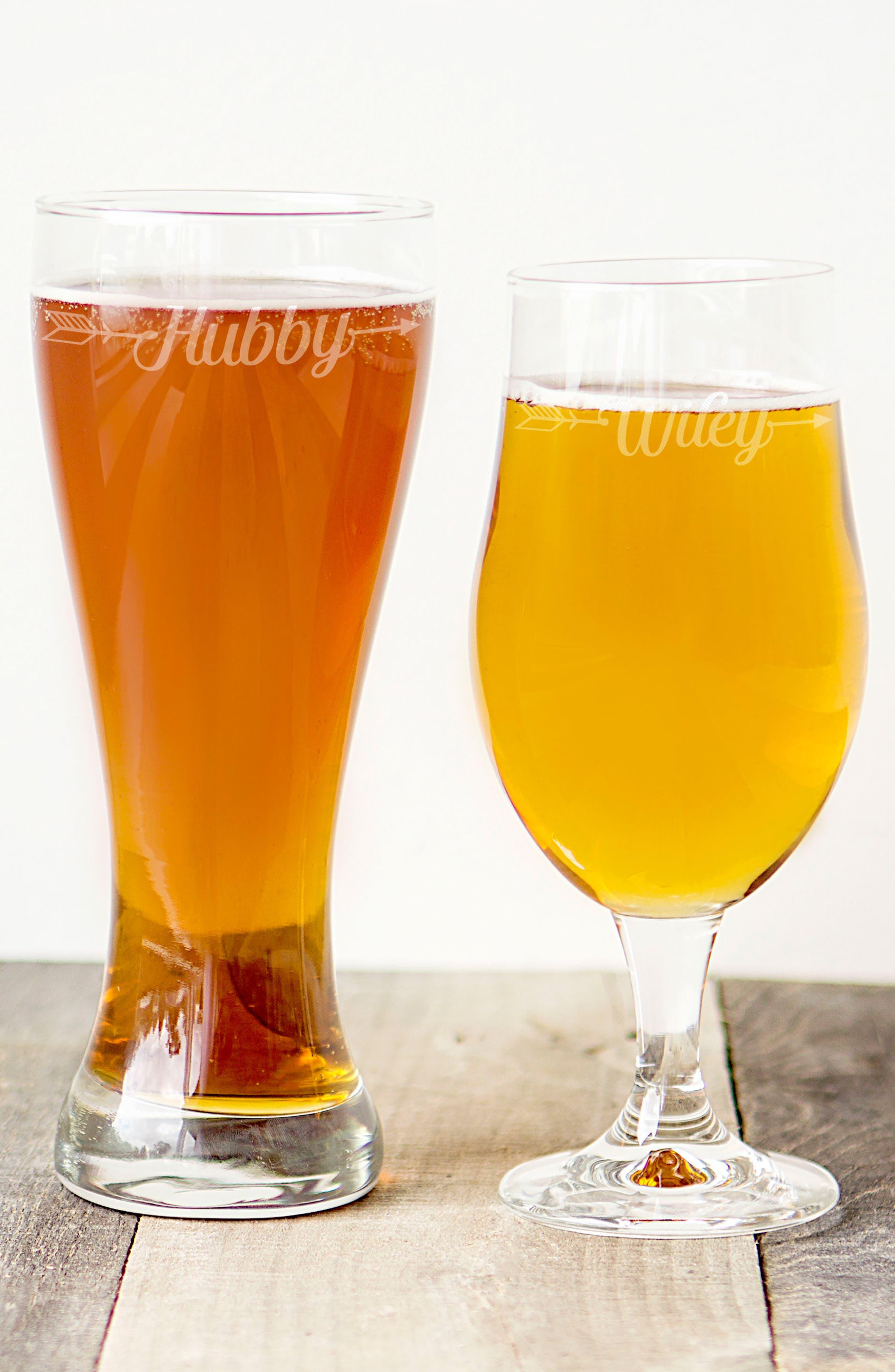 Hubby/Wifey Set of 2 Pilsner Glasses,                             Alternate thumbnail 7, color,                             100