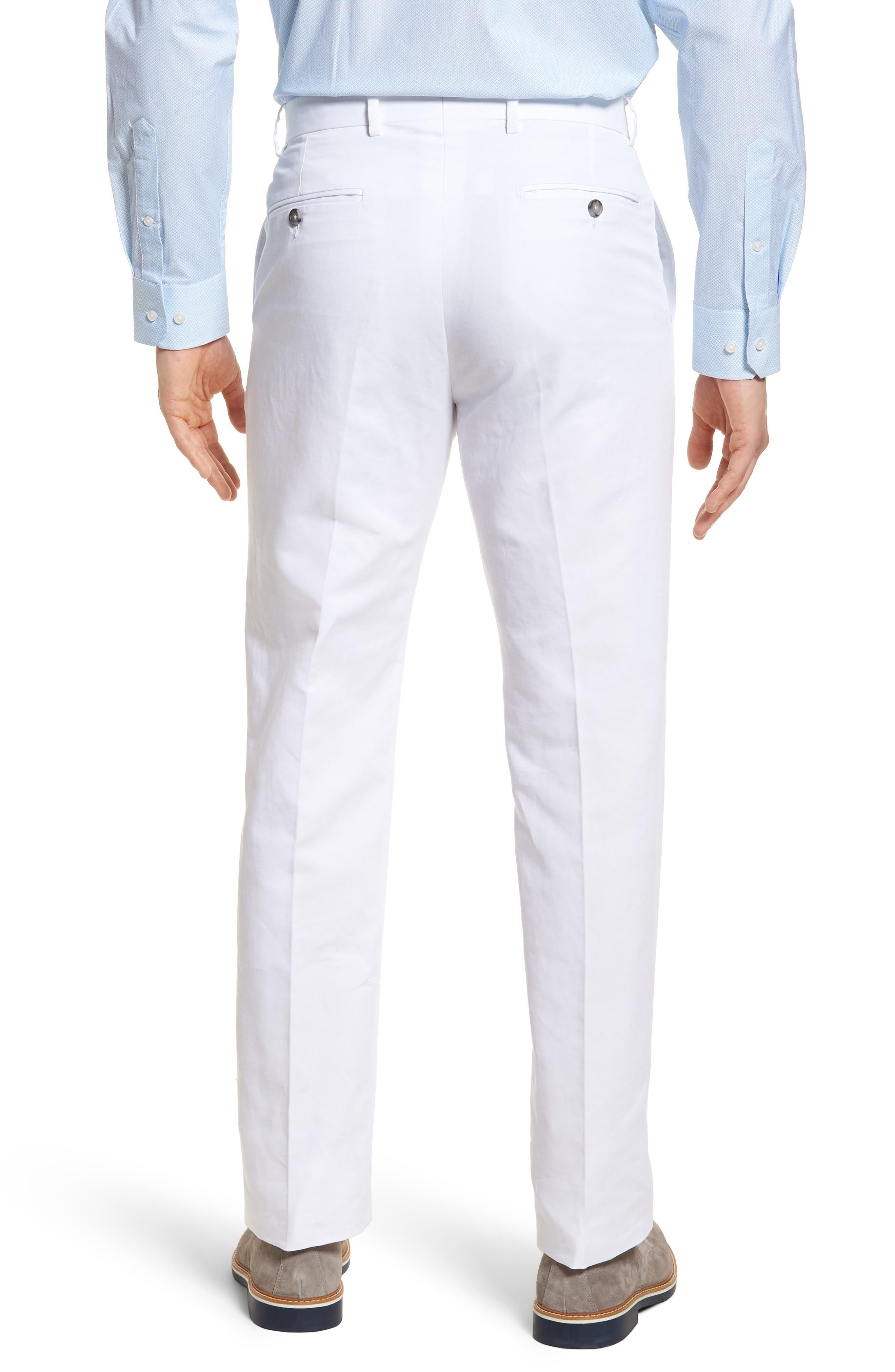 Flat Front Solid Cotton & Linen Trousers,                             Alternate thumbnail 10, color,