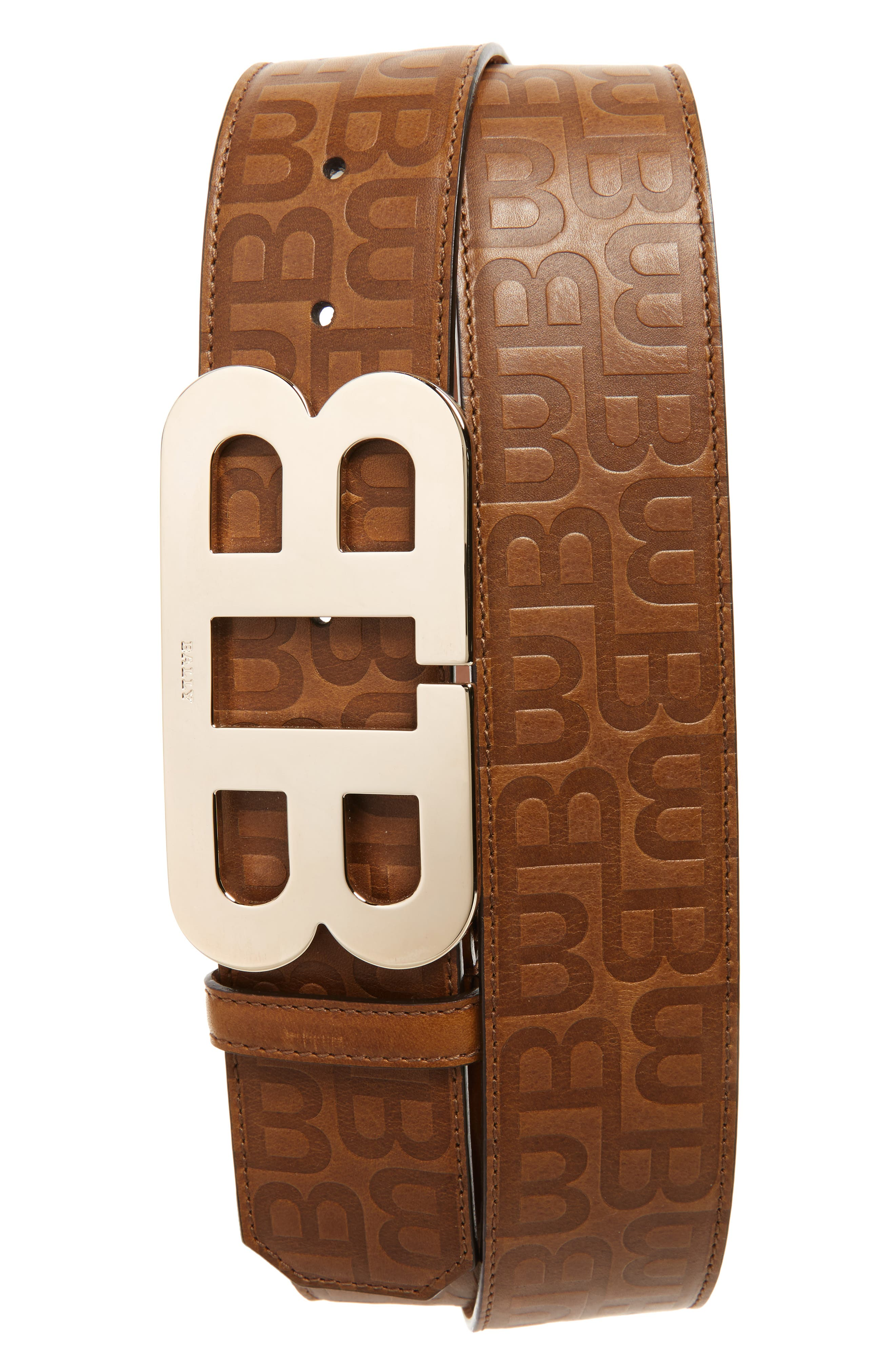 Stamped Logo Leather Belt,                             Main thumbnail 1, color,                             CIGAR