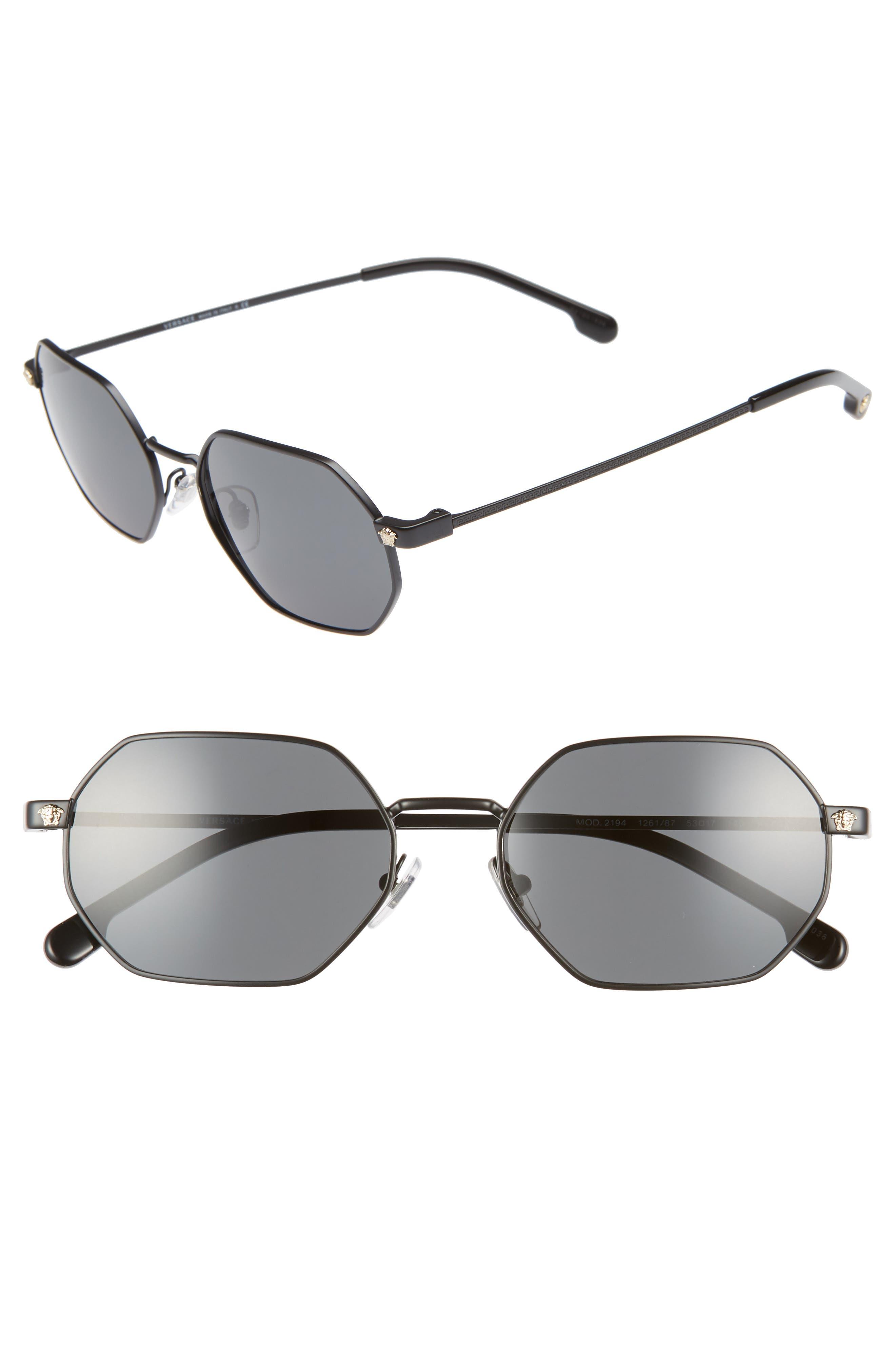 53Mm Hexagon Sunglasses - Matte Black Solid