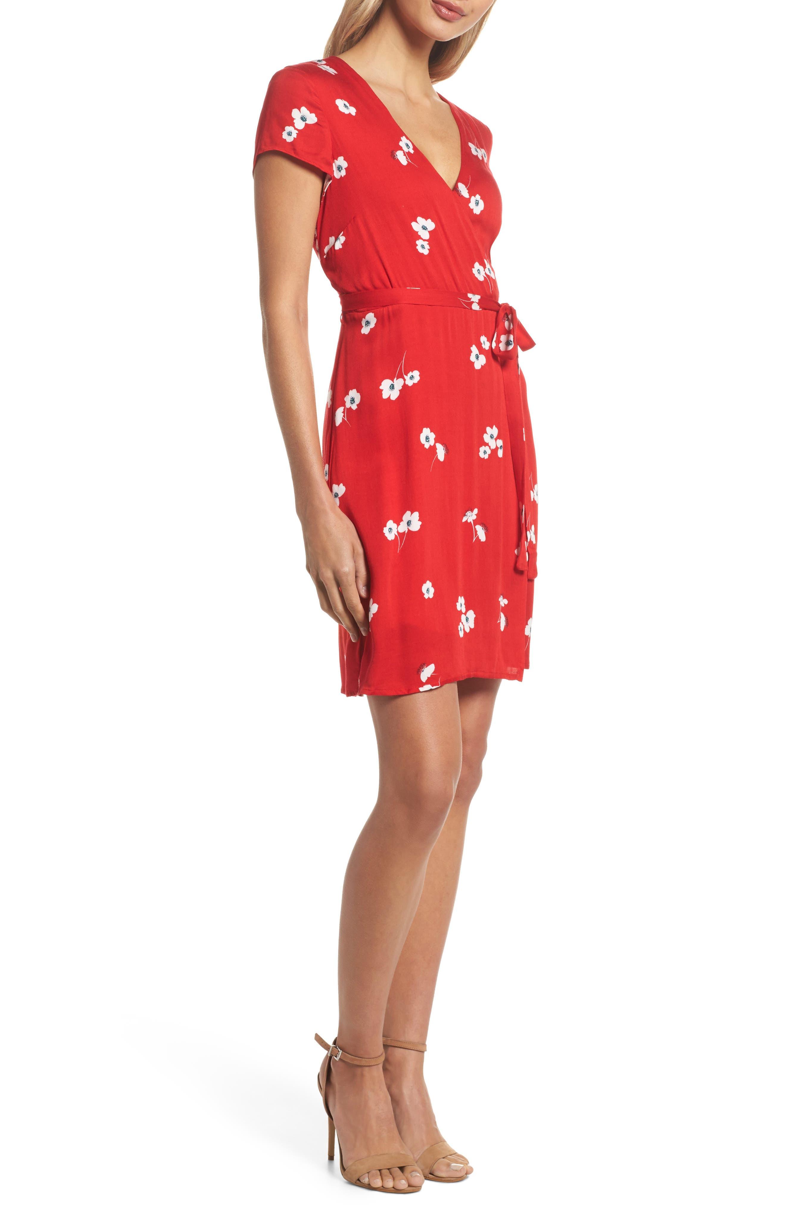 Edie Floral Faux Wrap Dress,                             Alternate thumbnail 3, color,                             645