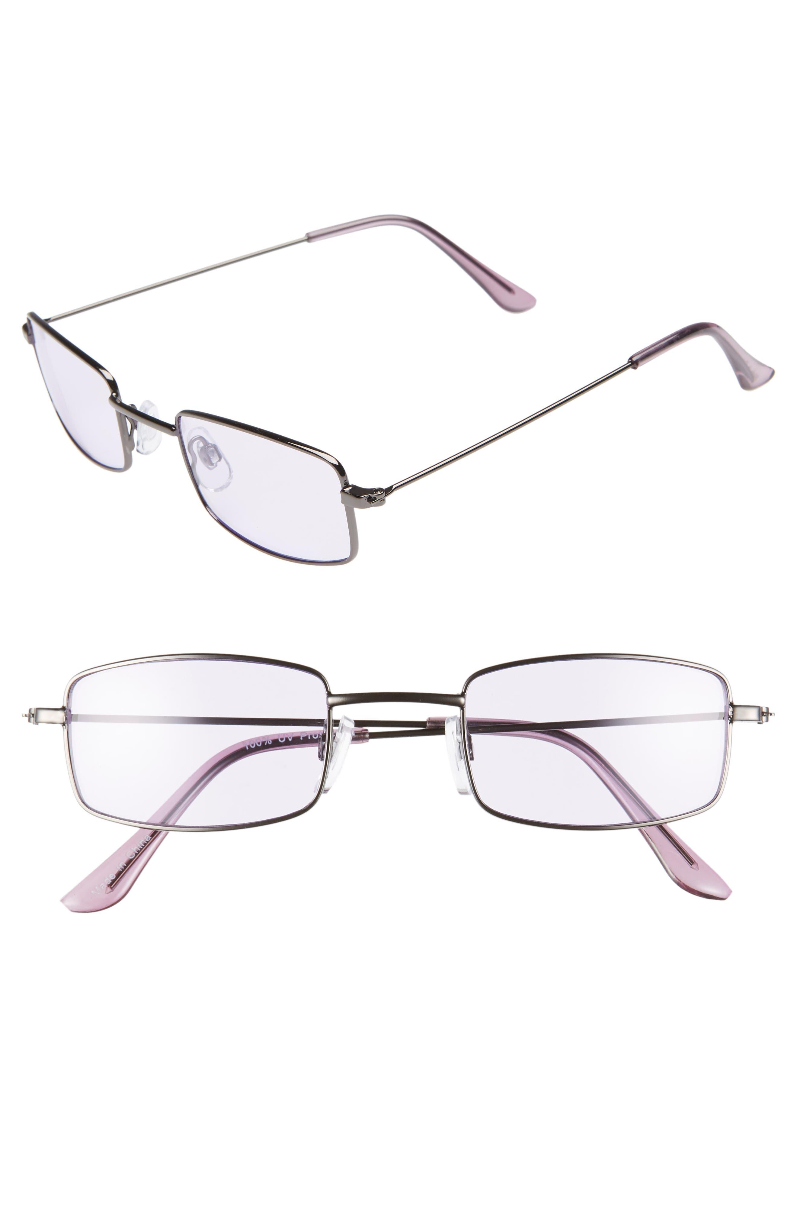 45mm Square Sunglasses,                             Main thumbnail 1, color,                             GUNMETAL/ PURPLE