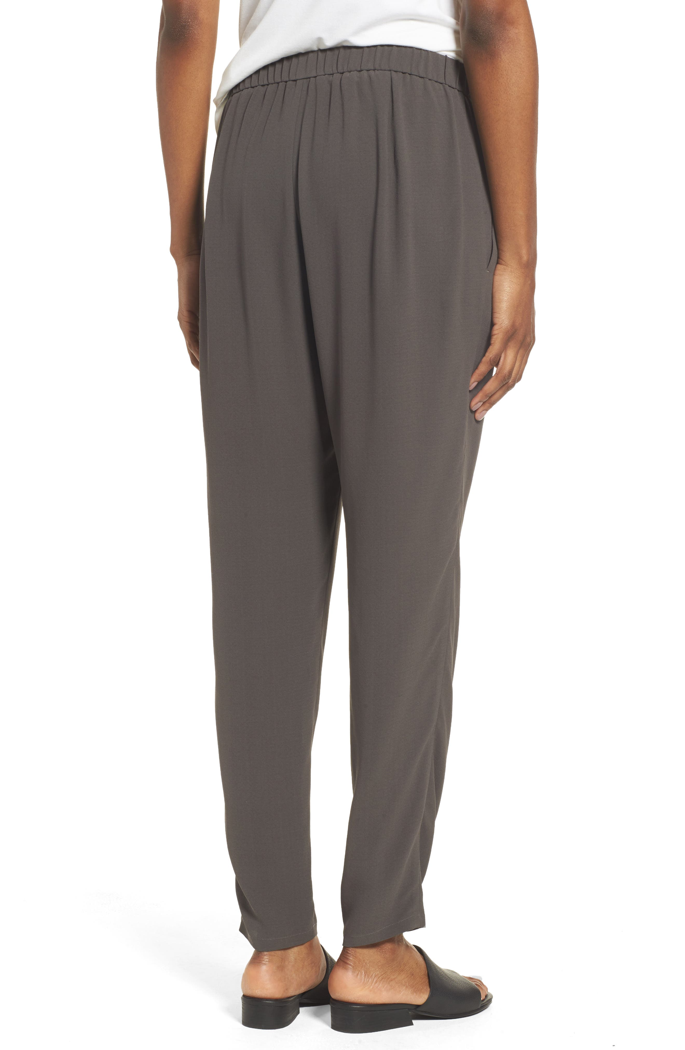 Slouchy Silk Crepe Ankle Pants,                             Alternate thumbnail 16, color,