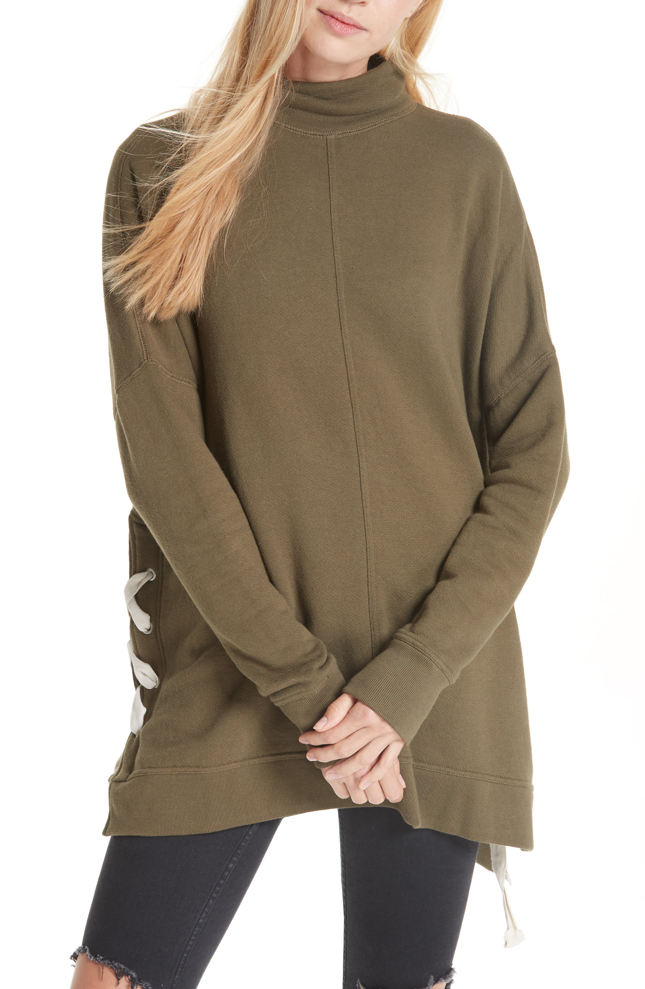 So Plush Lace-Up Pullover,                         Main,                         color, MOSS