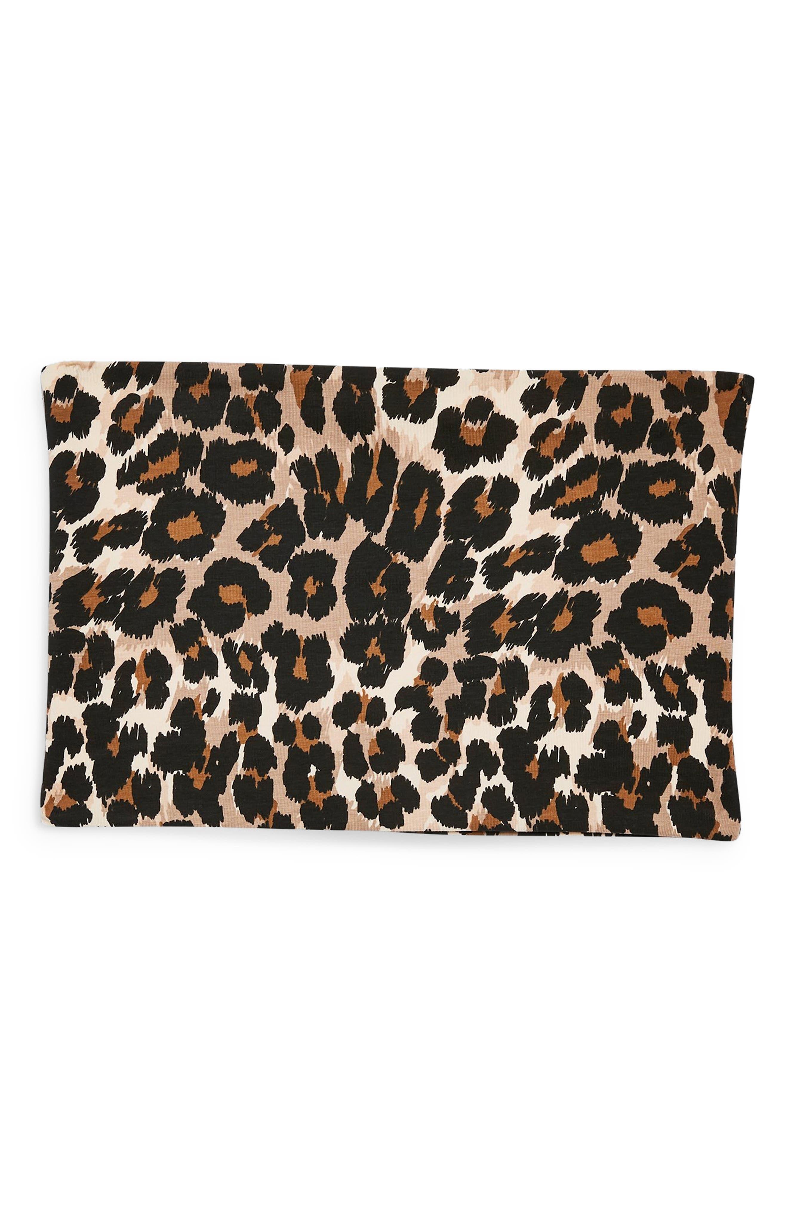 TOPSHOP,                             Leopard Bandeau Top,                             Alternate thumbnail 3, color,                             210