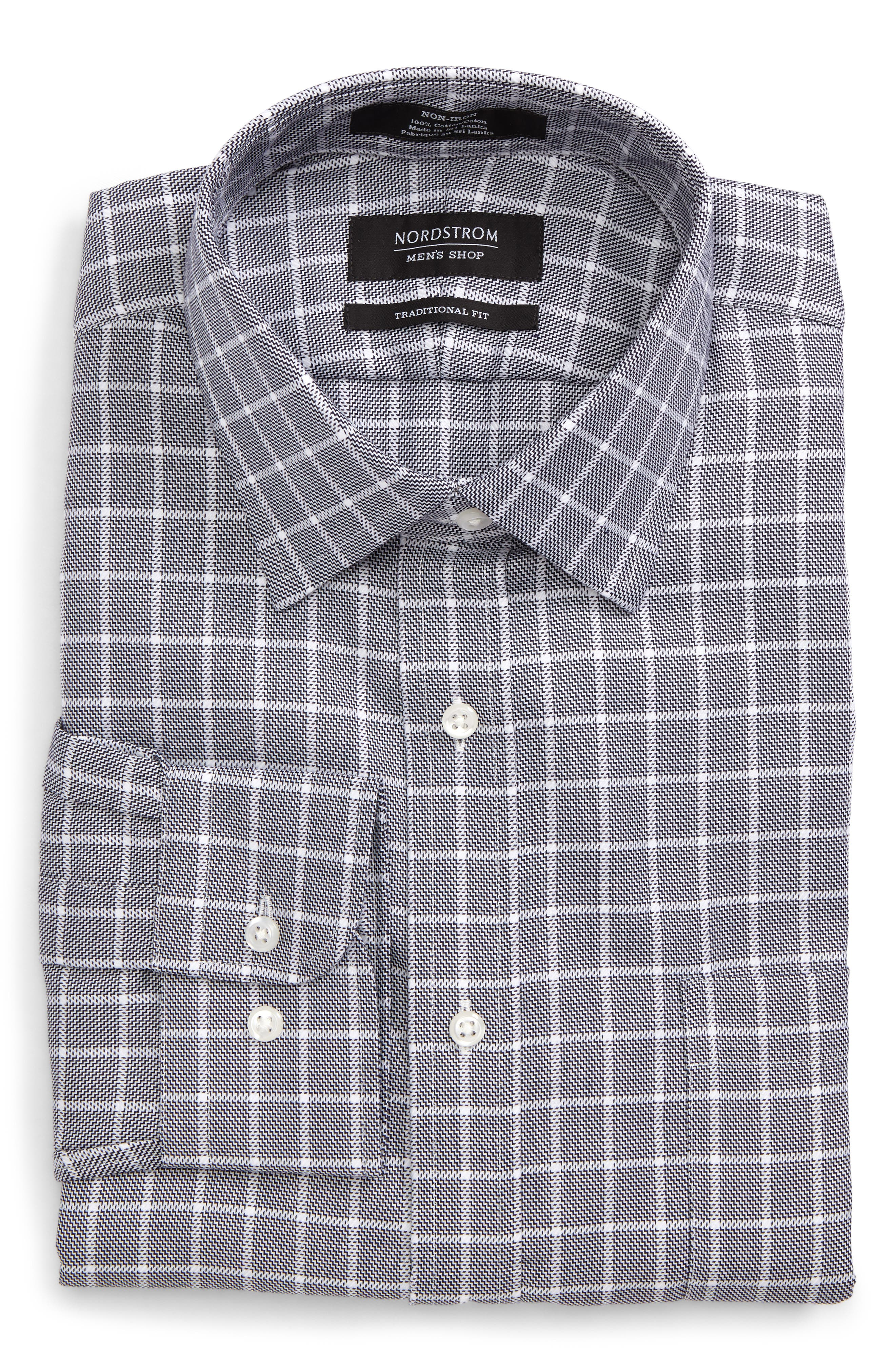 Traditional Fit Non-Iron Check Dress Shirt,                             Alternate thumbnail 5, color,                             001