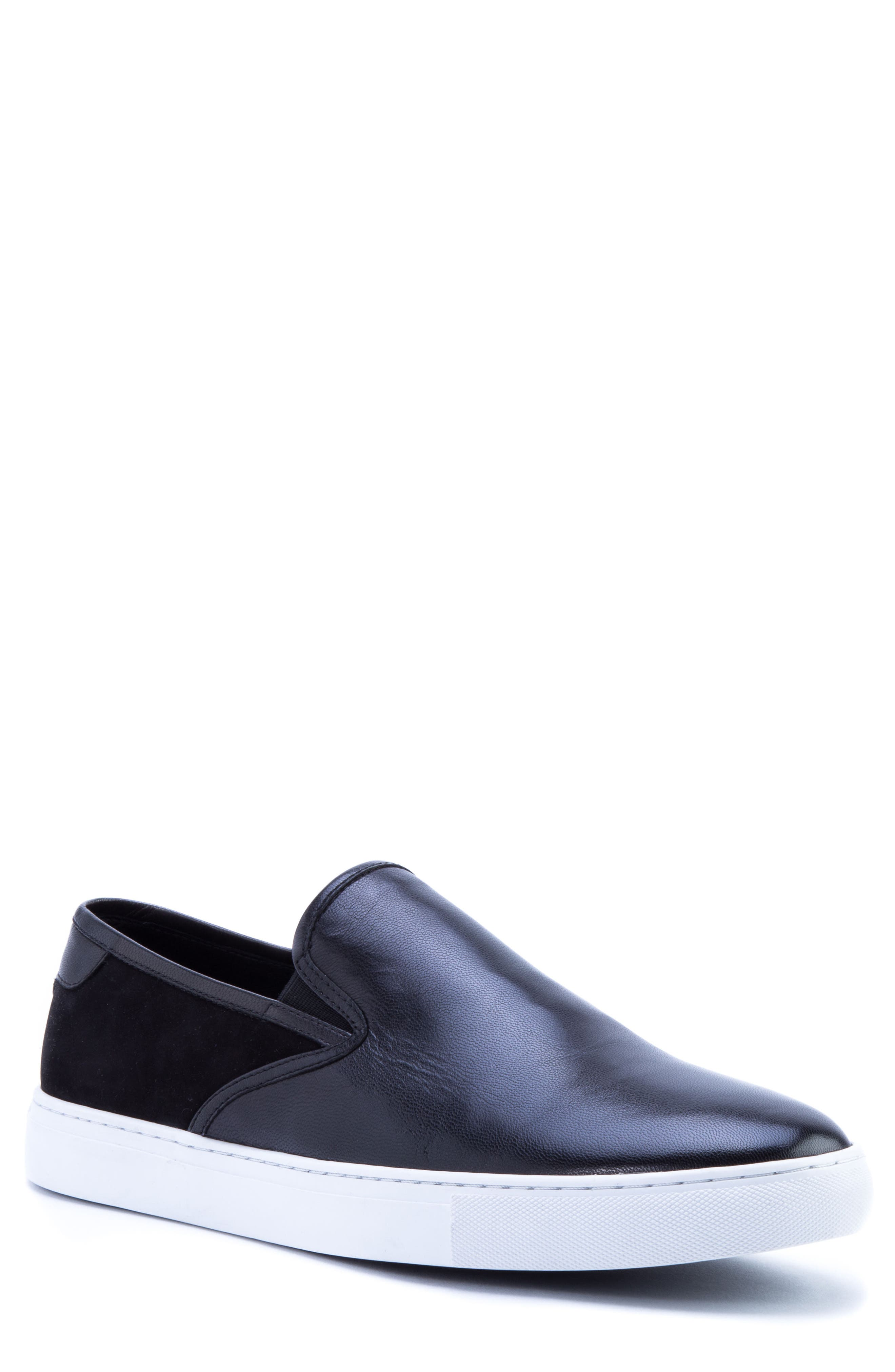 Duchamps Slip-On Sneaker,                             Main thumbnail 1, color,                             BLACK LEATHER/ SUEDE