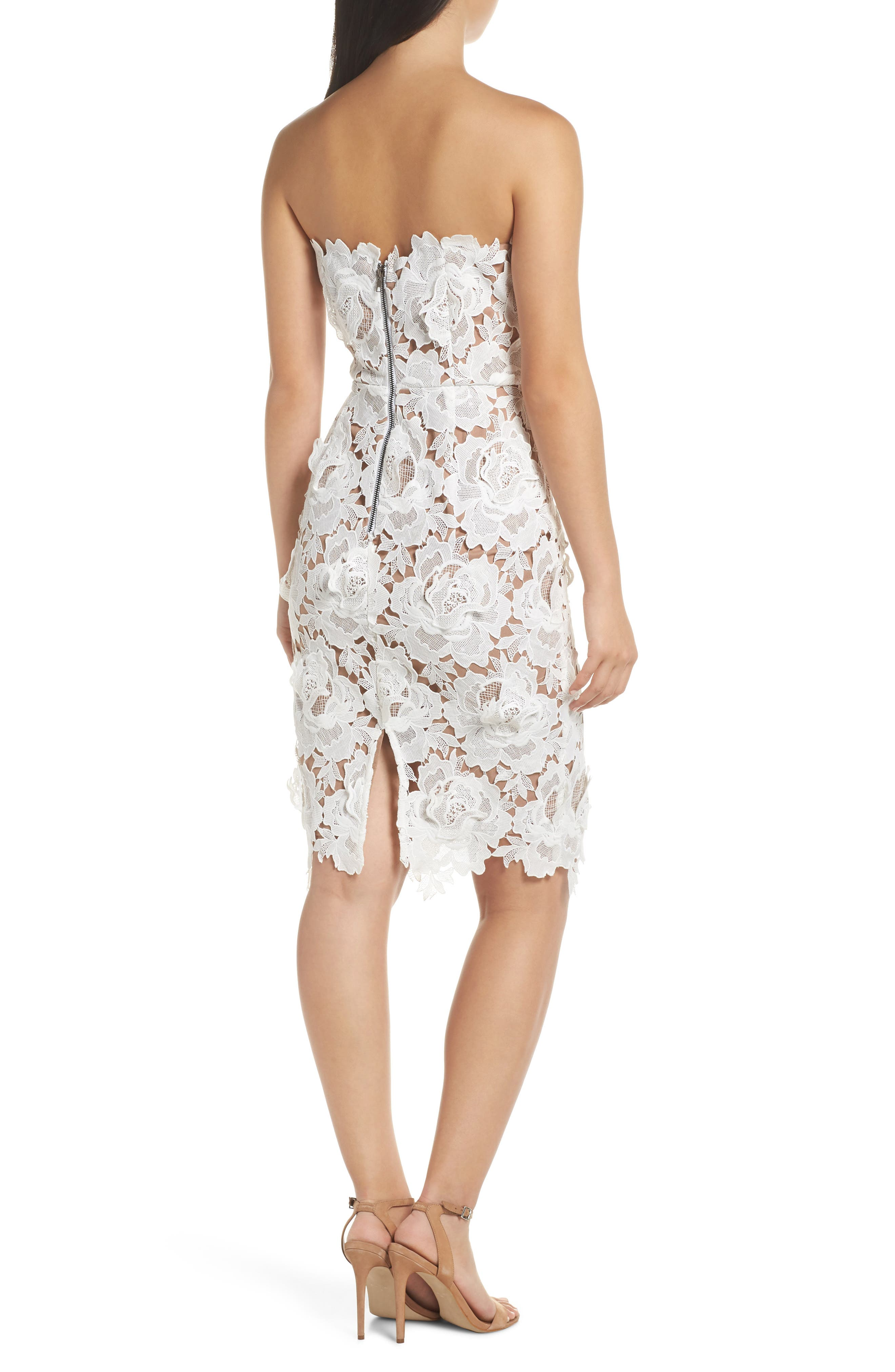 Jade Strapless Lace Dress,                             Alternate thumbnail 2, color,                             WHITE-NUDE