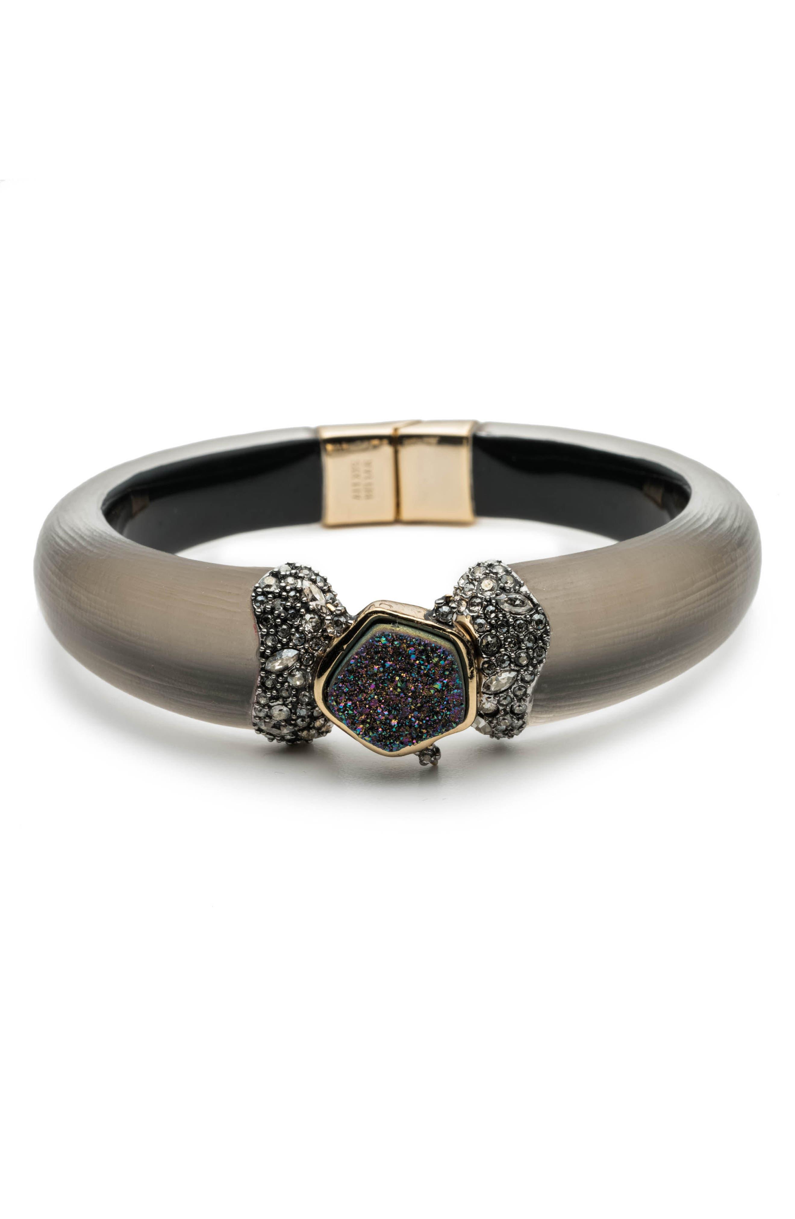 Drusy & Lucite<sup>®</sup> Bracelet,                         Main,                         color, WARM GREY
